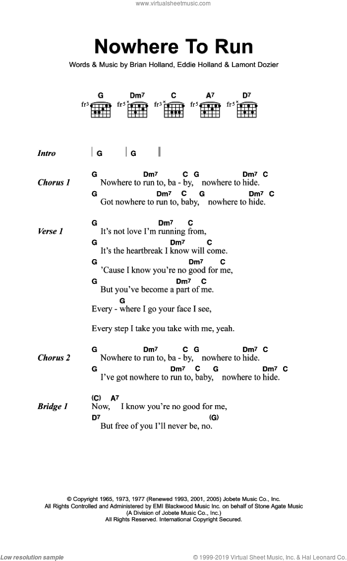 Nowhere To Run sheet music for guitar (chords) by Martha & The Vandellas, Brian Holland, Eddie Holland and Lamont Dozier, intermediate skill level