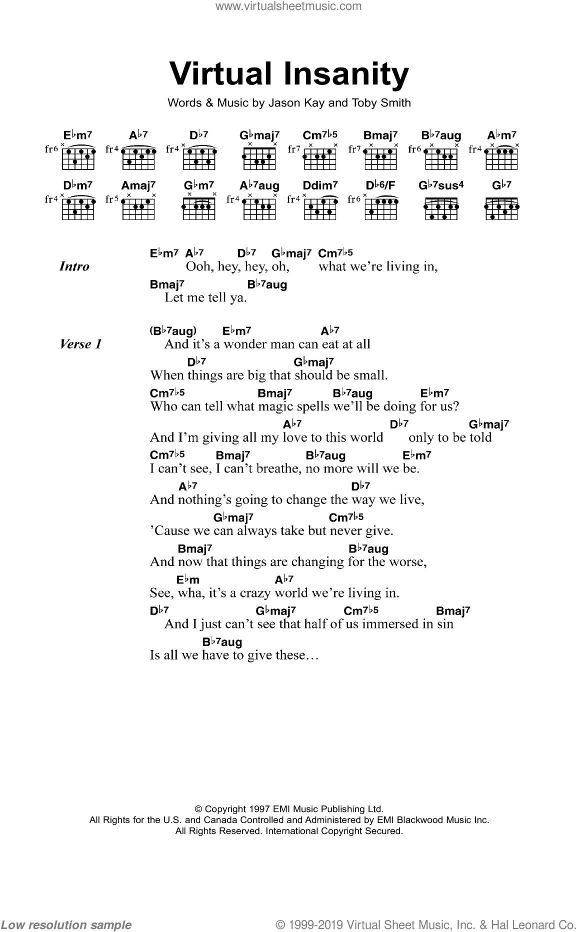 Virtual Insanity sheet music for guitar (chords) by Wallis Buchanan, Jason Kay, Stuart Zender and Toby Smith. Score Image Preview.