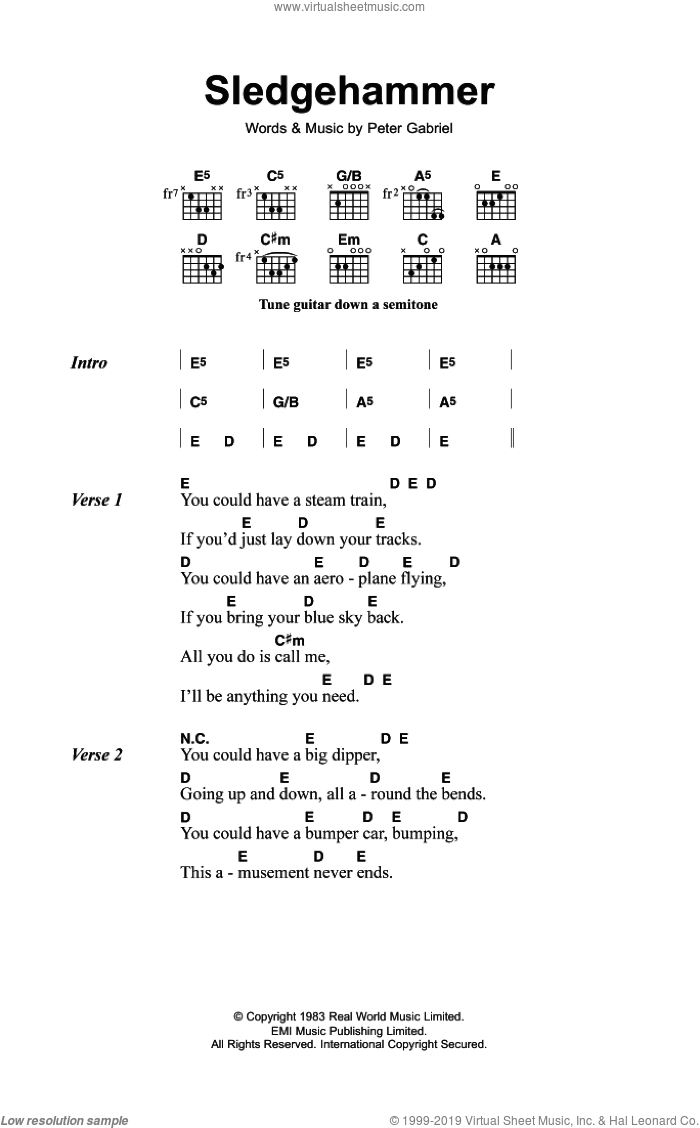 Sledgehammer sheet music for guitar (chords) by Peter Gabriel. Score Image Preview.