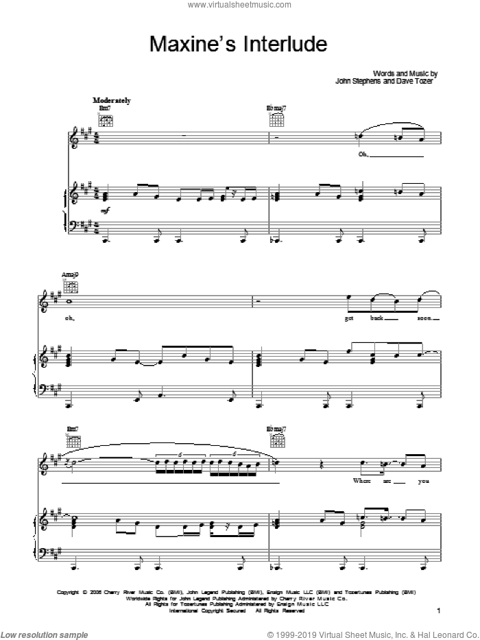Maxine's Interlude sheet music for voice, piano or guitar by John Stephens and John Legend. Score Image Preview.