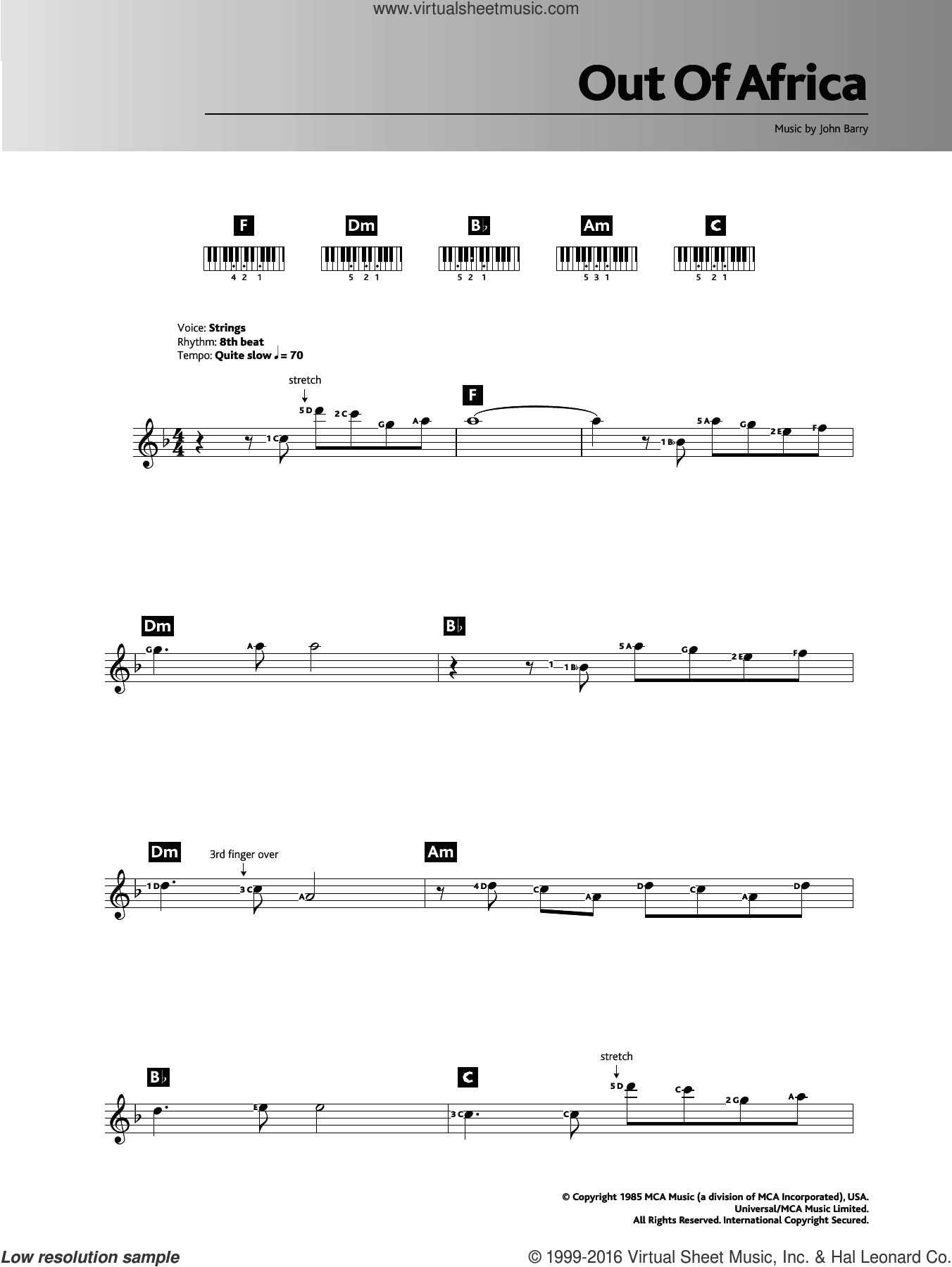 I Had A Farm In Africa (Main Title from Out Of Africa) sheet music for piano solo (chords, lyrics, melody) by John Barry. Score Image Preview.