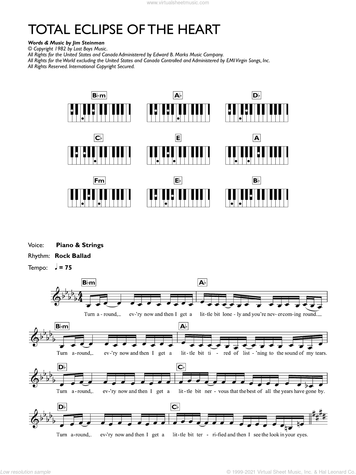 Total Eclipse Of The Heart sheet music for piano solo (chords, lyrics, melody) by Bonnie Tyler and Jim Steinman, intermediate piano (chords, lyrics, melody)