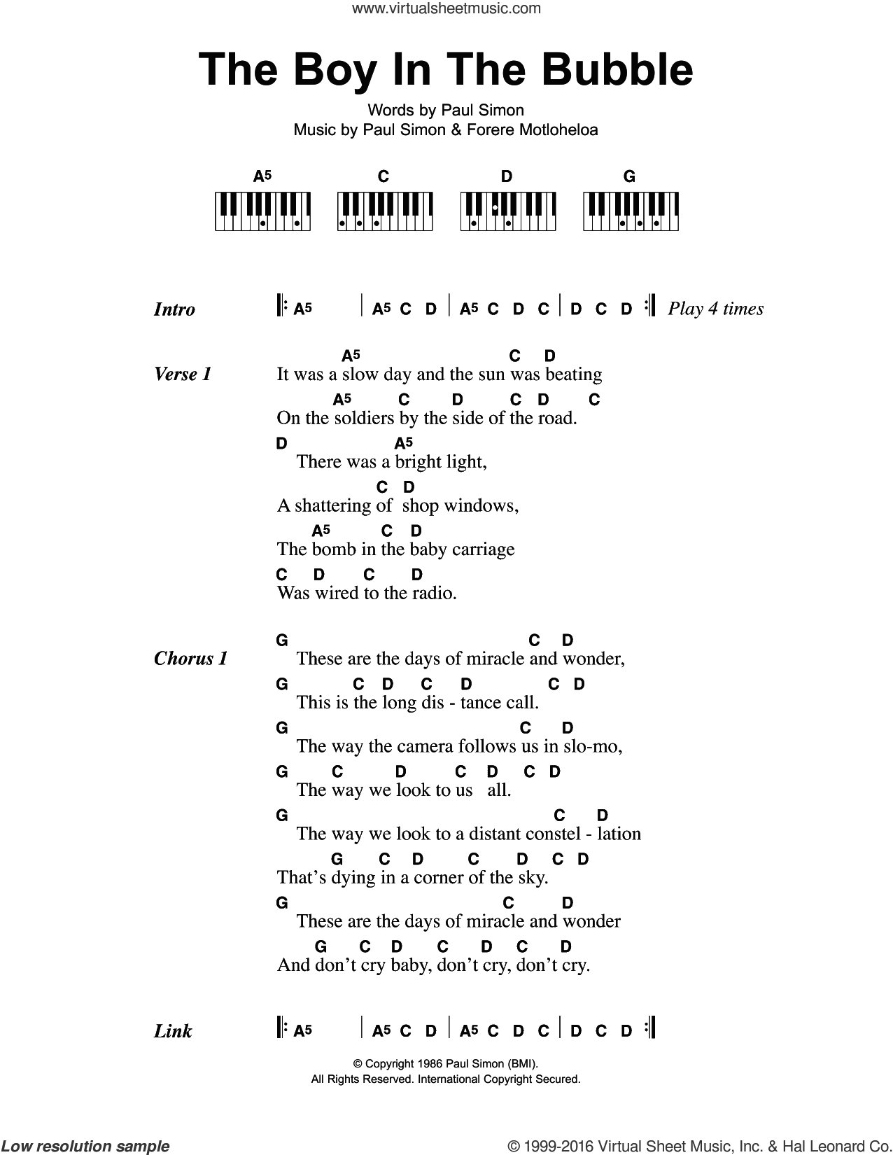 The Boy In The Bubble sheet music for piano solo (chords, lyrics, melody) by Paul Simon and Forere Motloheloa, intermediate piano (chords, lyrics, melody). Score Image Preview.