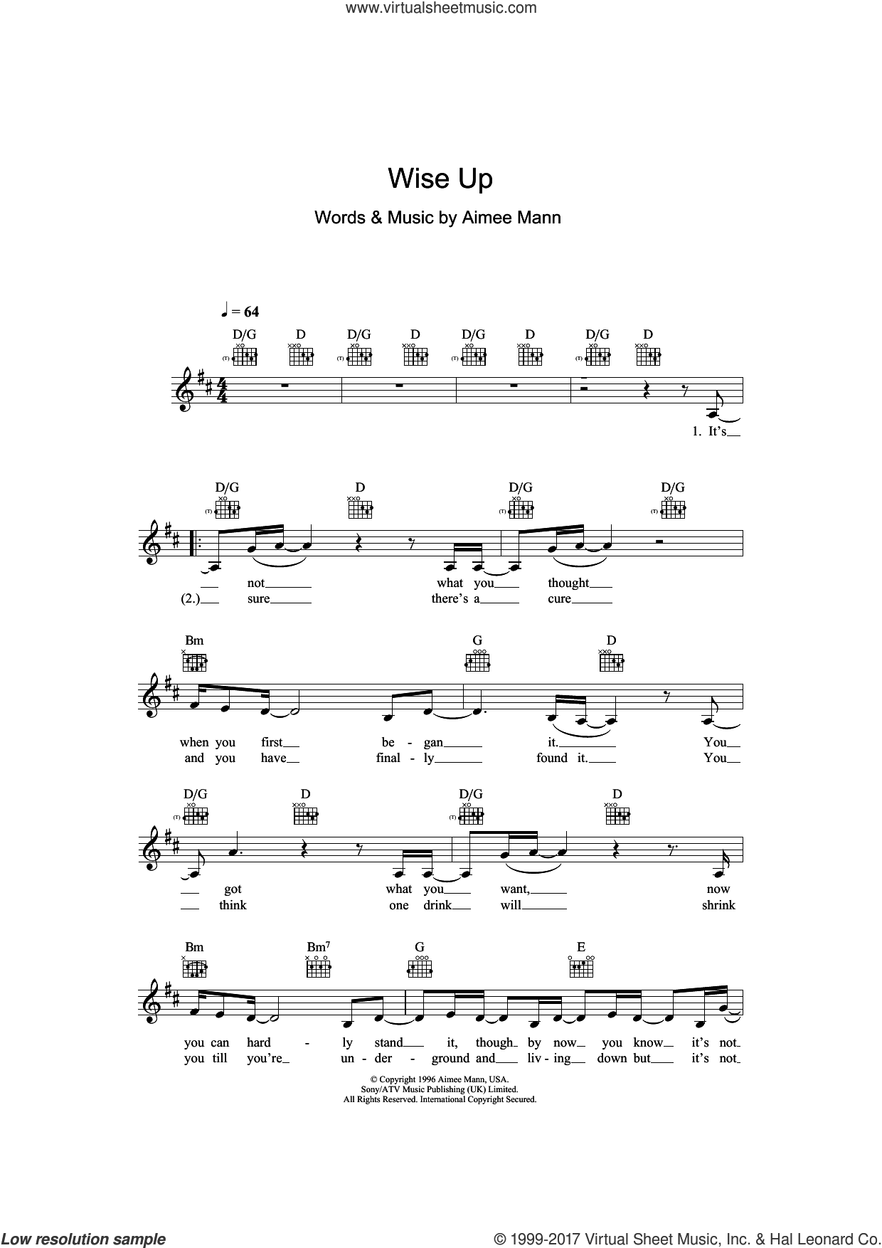 Wise Up (from Magnolia) sheet music for voice and other instruments (fake book) by Aimee Mann, intermediate skill level