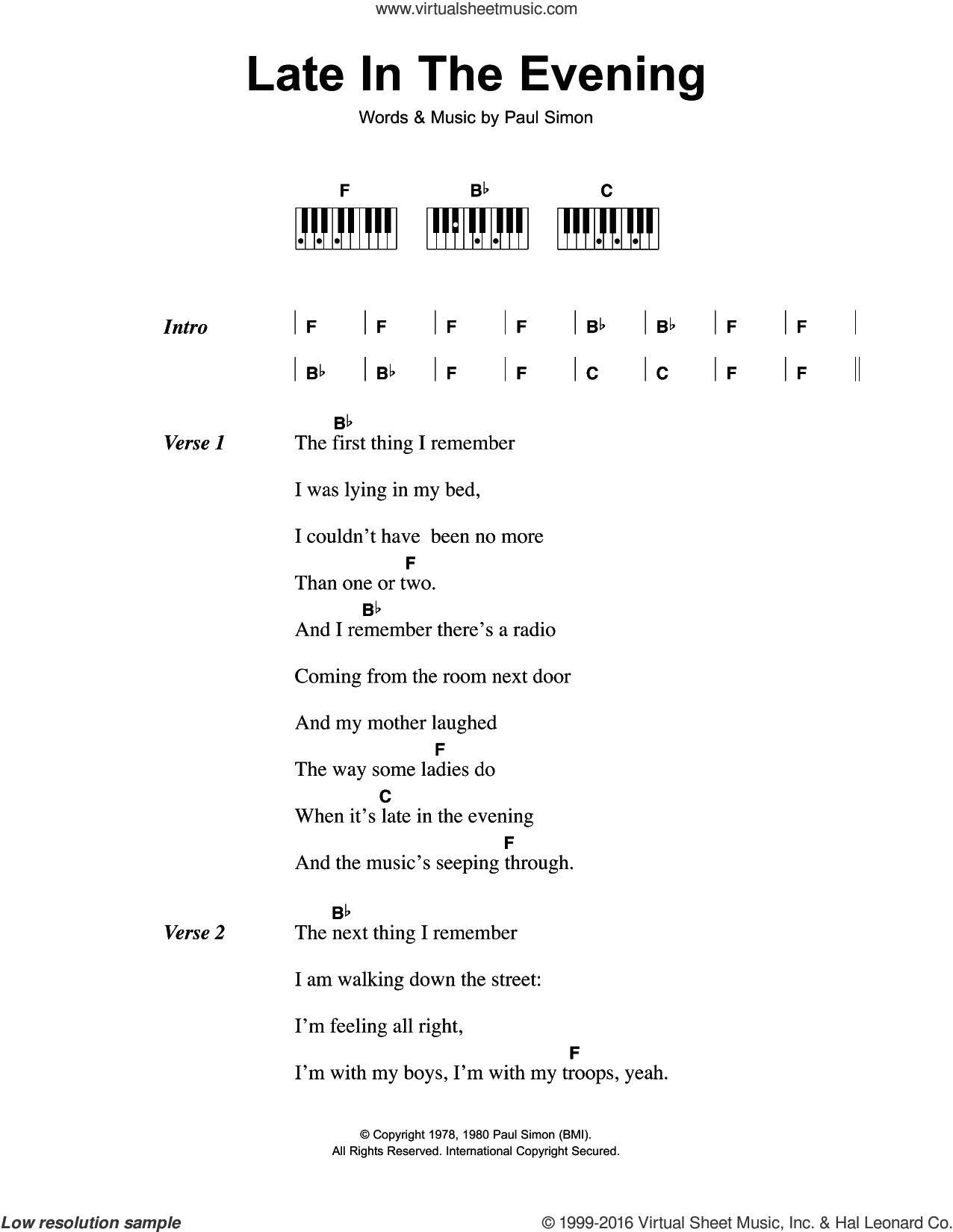 Late In The Evening sheet music for piano solo (chords, lyrics, melody) by Paul Simon, intermediate piano (chords, lyrics, melody). Score Image Preview.