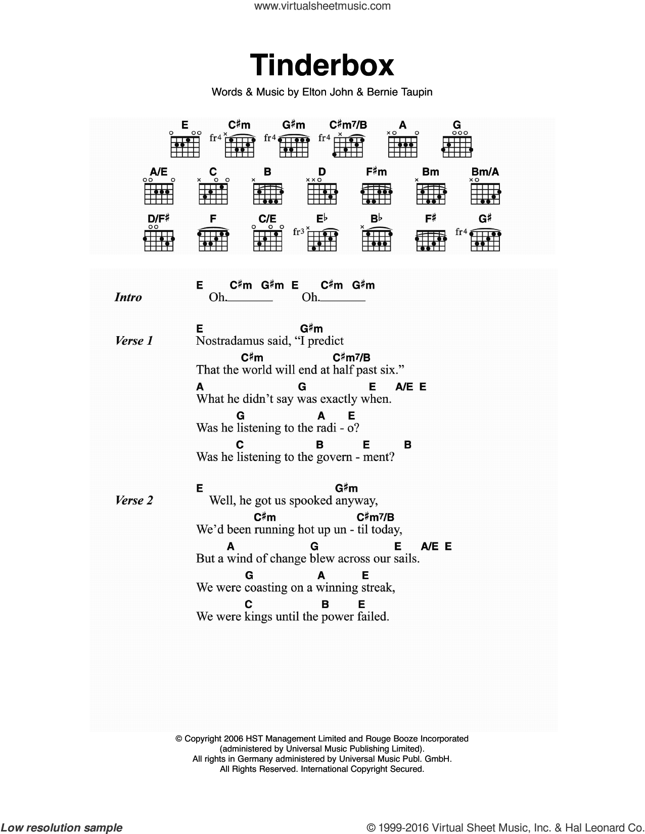 Tinderbox sheet music for guitar (chords) by Elton John and Bernie Taupin, intermediate skill level