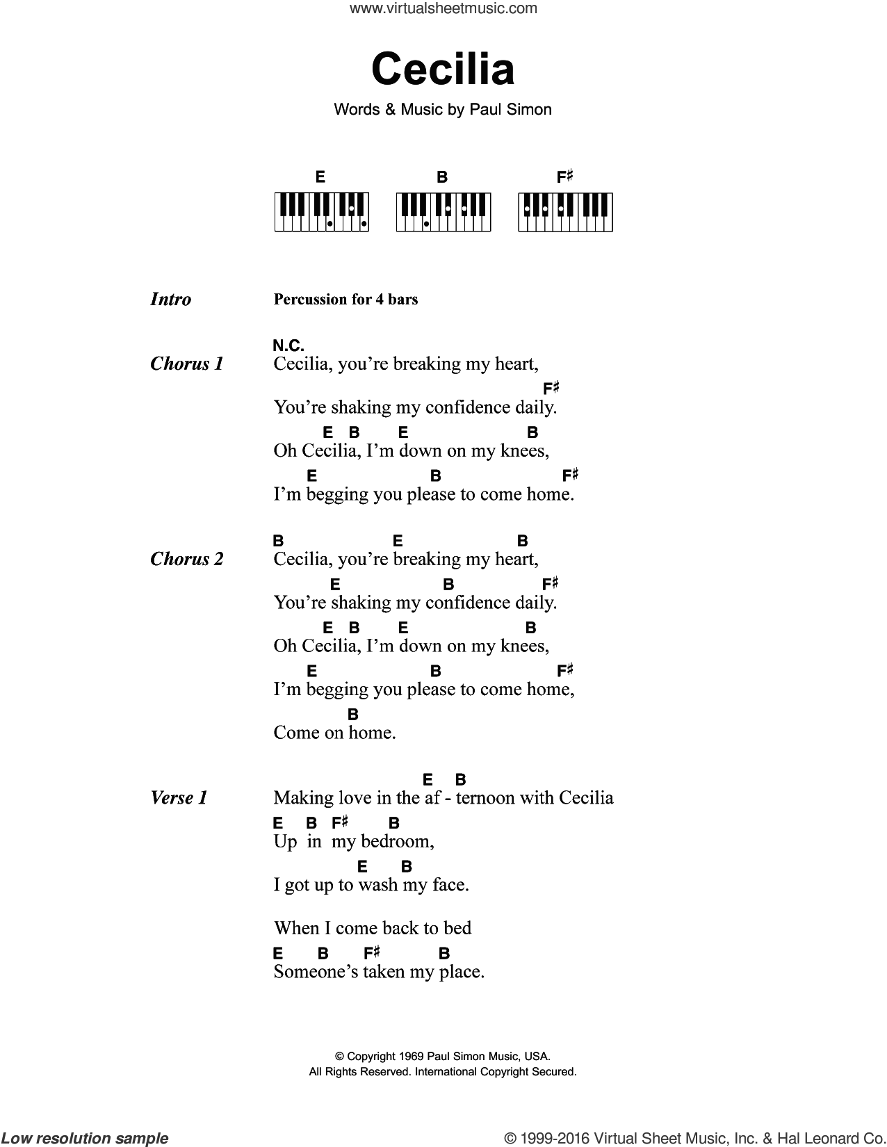 Cecilia sheet music for piano solo (chords, lyrics, melody) by Paul Simon and Simon & Garfunkel. Score Image Preview.