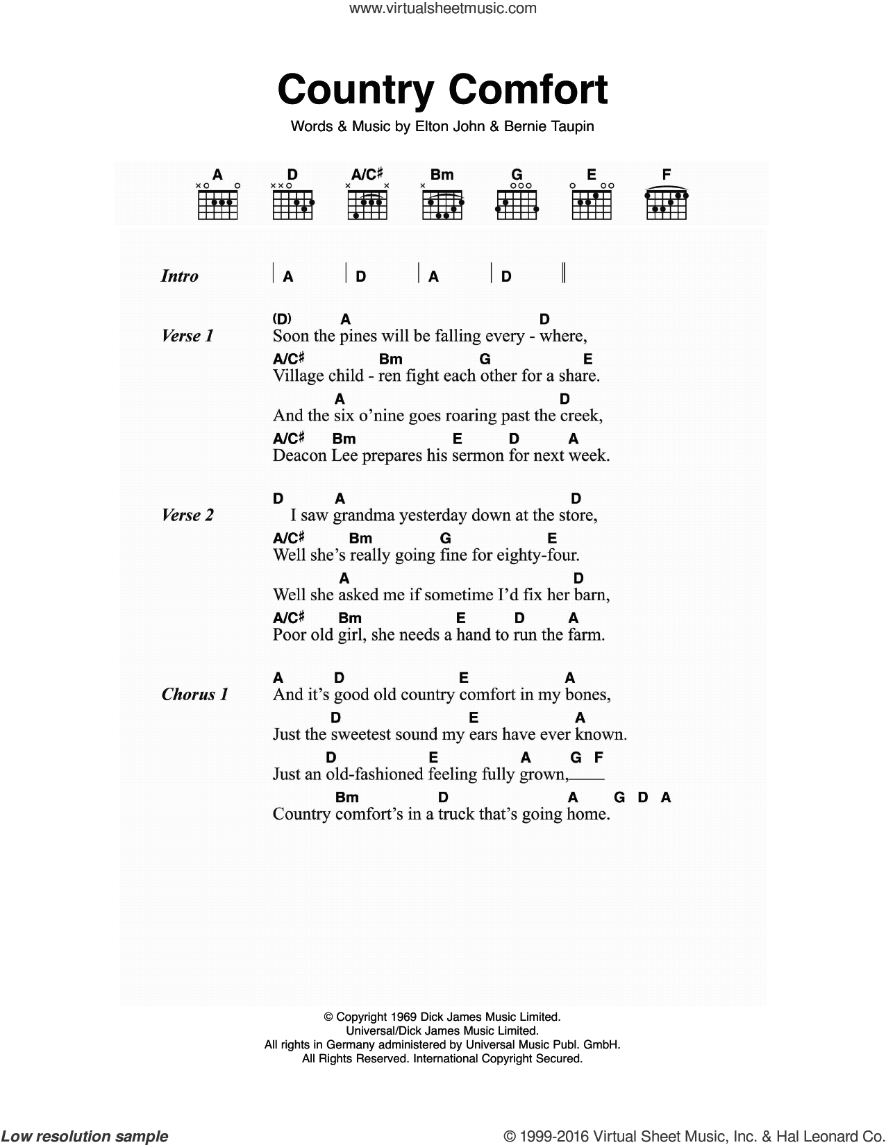 Country Comfort sheet music for guitar (chords) by Elton John and Bernie Taupin, intermediate skill level