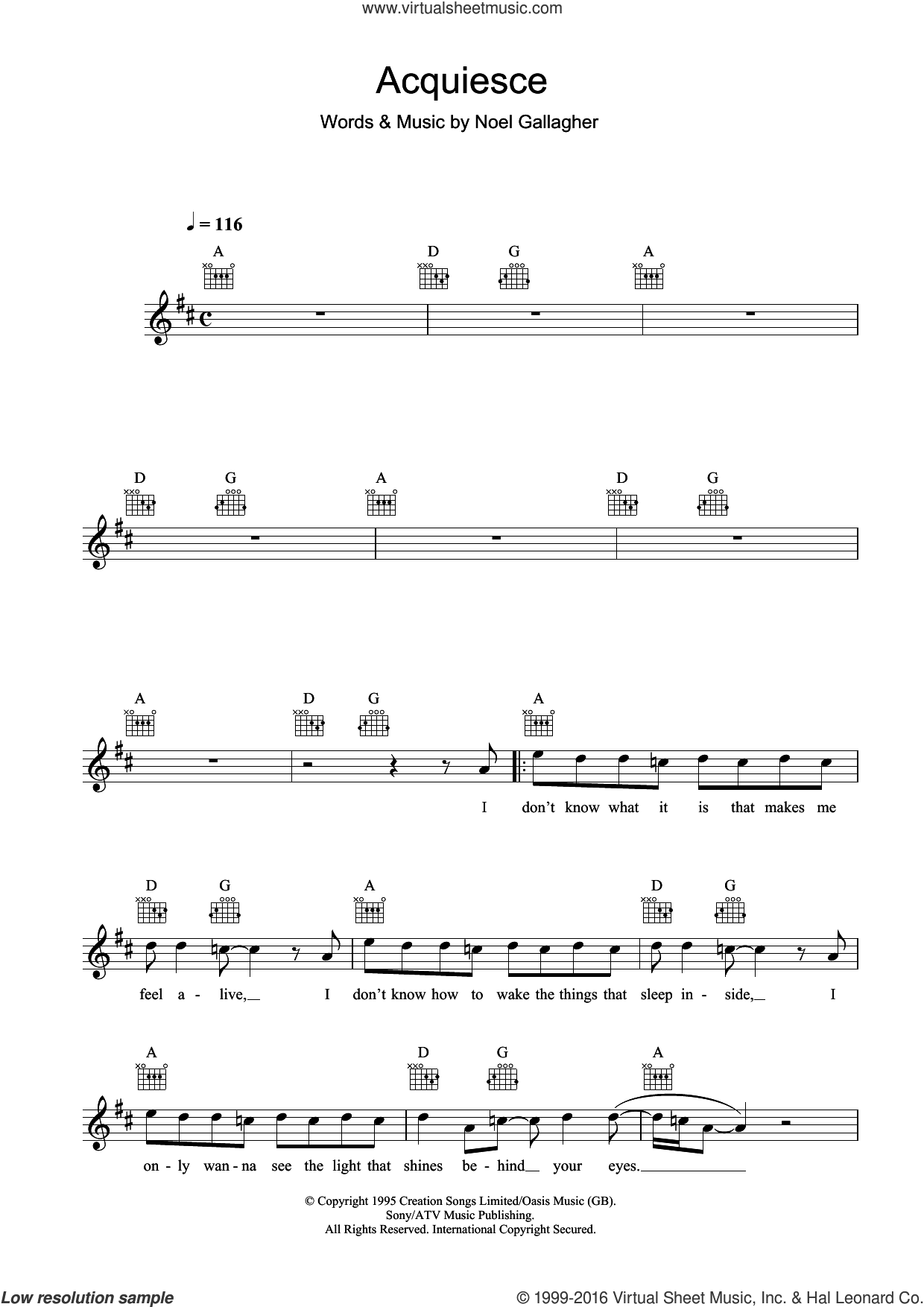 Acquiesce sheet music for voice and other instruments (fake book) by Oasis and Noel Gallagher. Score Image Preview.