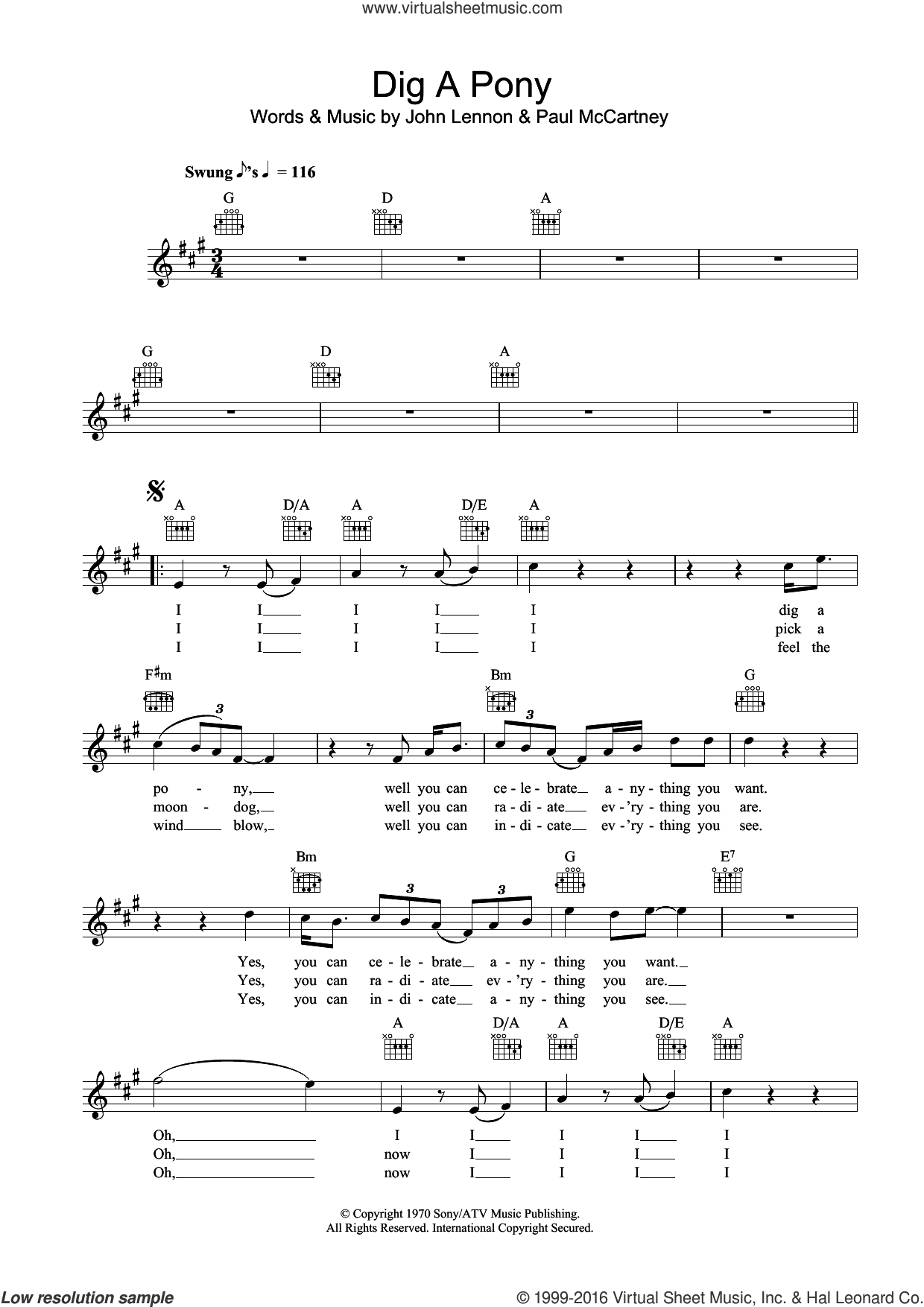 Dig A Pony sheet music for voice and other instruments (fake book) by The Beatles, John Lennon and Paul McCartney, intermediate skill level