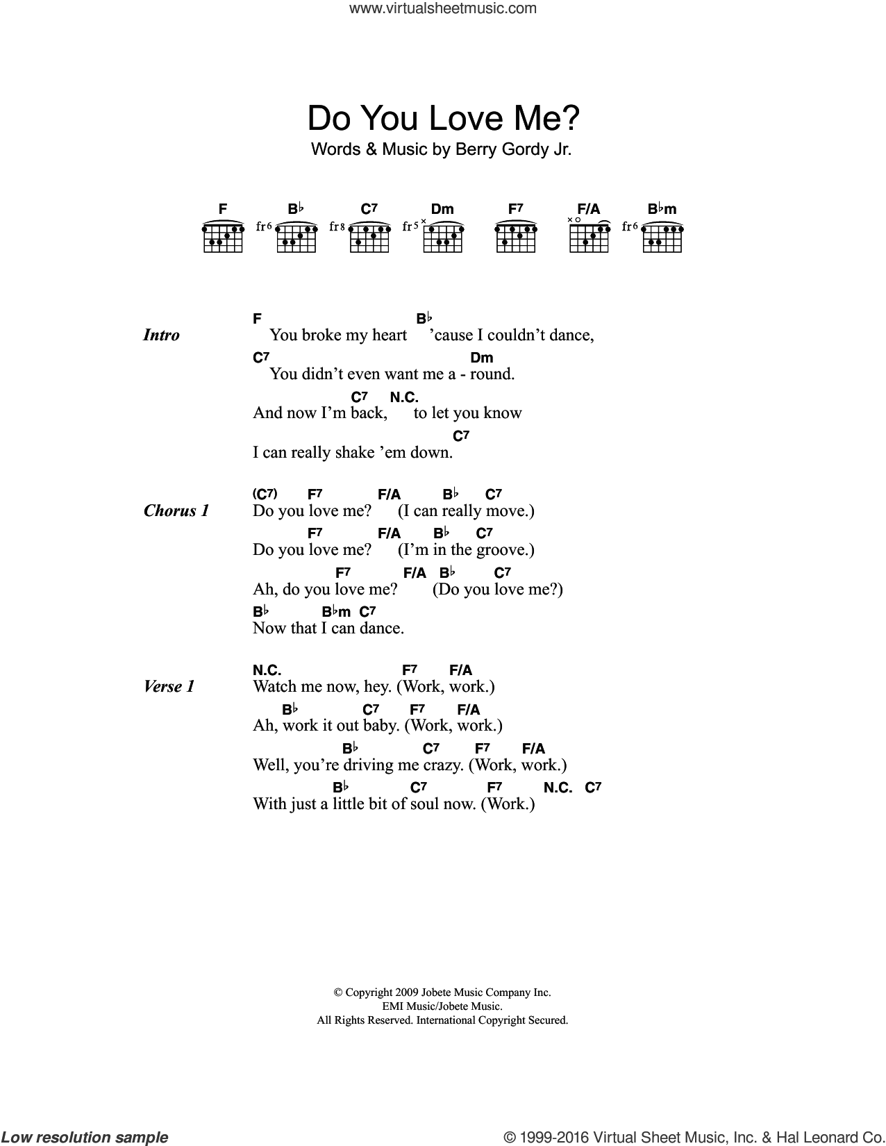 Do You Love Me? sheet music for guitar (chords) by The Contours and Berry Gordy, intermediate. Score Image Preview.