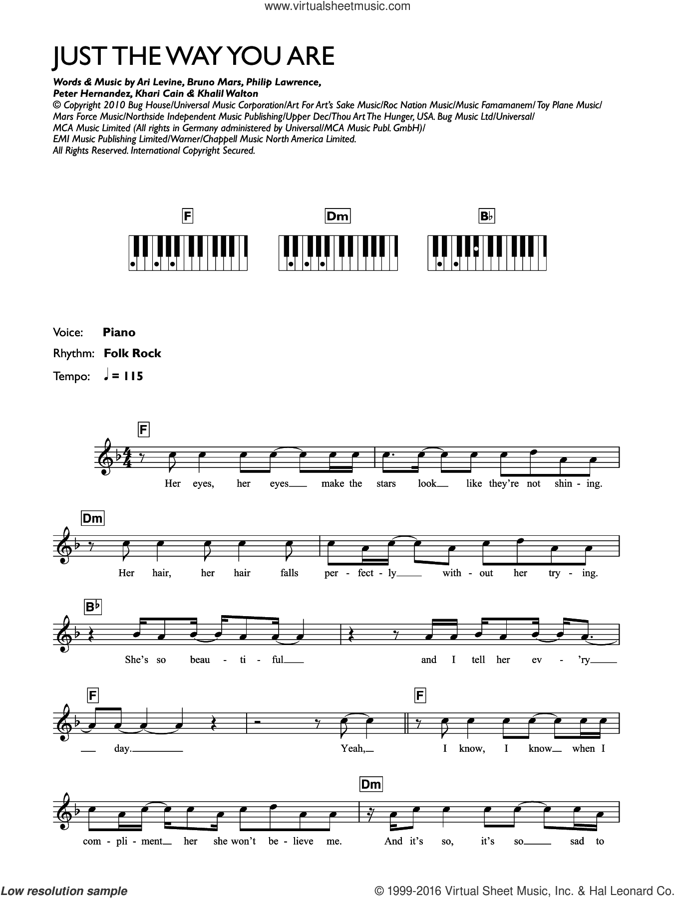 Just The Way You Are sheet music for piano solo (keyboard) by Bruno Mars, Ari Levine, Khalil Walton, Khari Cain, Peter Hernandez and Philip Lawrence, intermediate piano (keyboard)