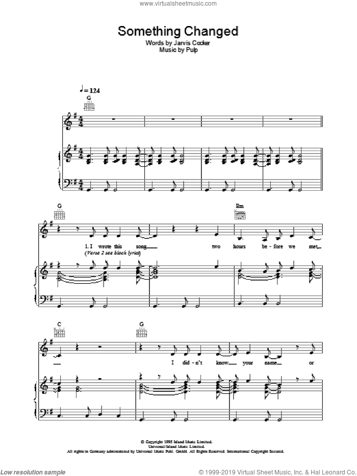 Something Changed sheet music for voice, piano or guitar by Pulp and Jarvis Cocker, intermediate