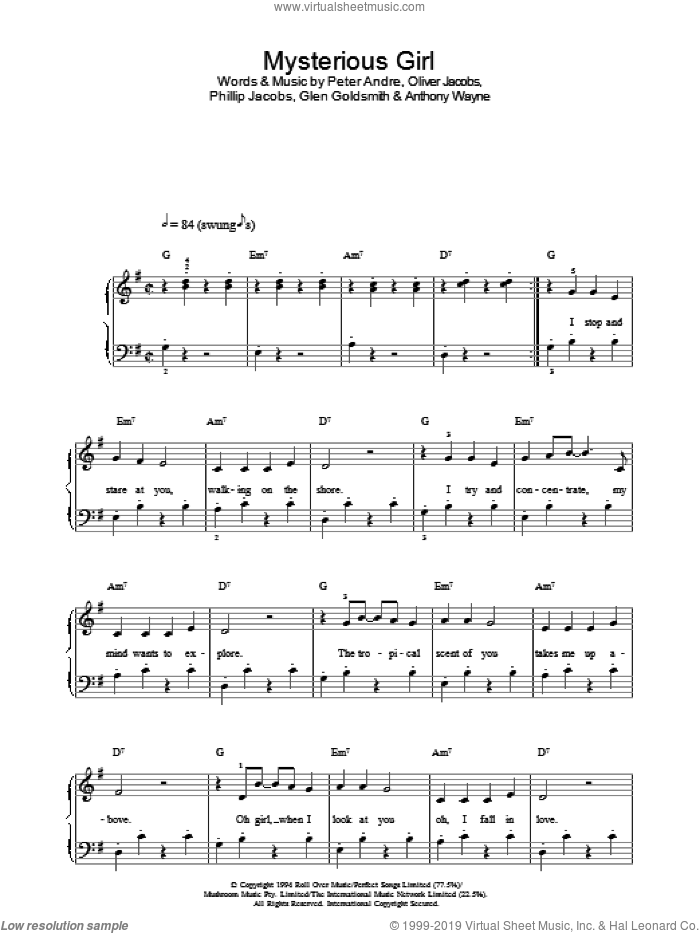 Mysterious Girl sheet music for voice, piano or guitar by Peter Andre, Anthony Wayne, Glen Goldsmith, Oliver Jacobs and Phillip Jacobs, intermediate skill level