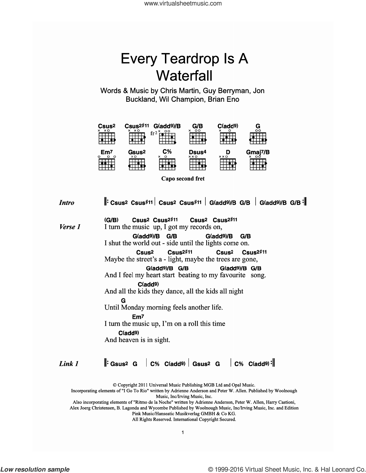 Every Teardrop Is A Waterfall sheet music for guitar (chords) by Coldplay, Adrienne Anderson, Brian Eno, Chris Martin, Guy Berryman, Jonny Buckland, Peter Allen and Will Champion, intermediate skill level