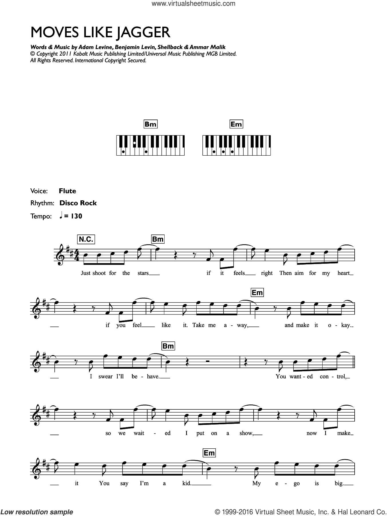 Moves Like Jagger (featuring Christina Aguilera) sheet music for piano solo (chords, lyrics, melody) by Maroon 5, Christina Aguilera, Adam Levine, Ammar Malik, Benjamin Levin and Shellback. Score Image Preview.