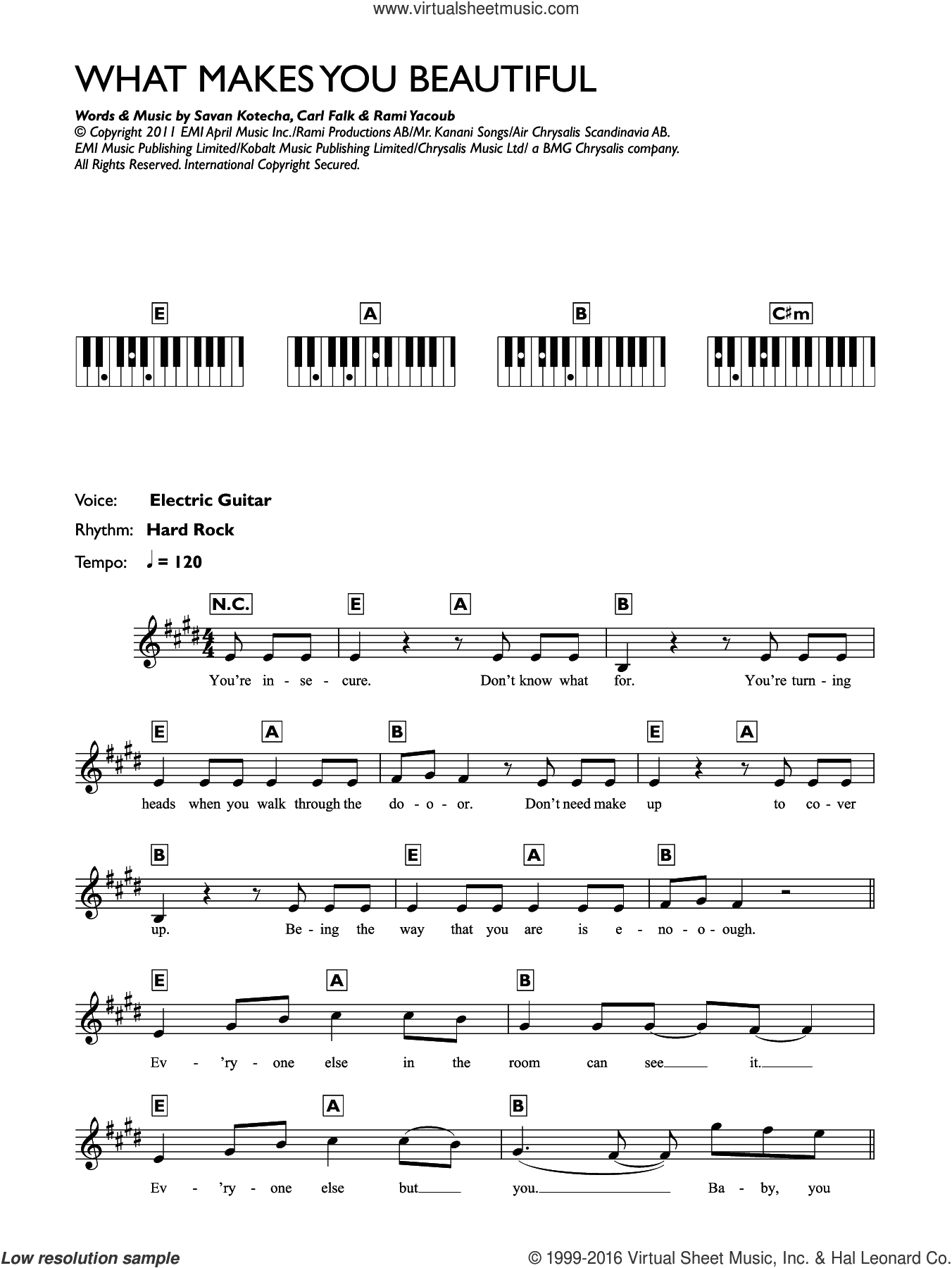 What Makes You Beautiful sheet music for piano solo (chords, lyrics, melody) by One Direction, Carl Falk, Rami and Savan Kotecha, intermediate piano (chords, lyrics, melody)