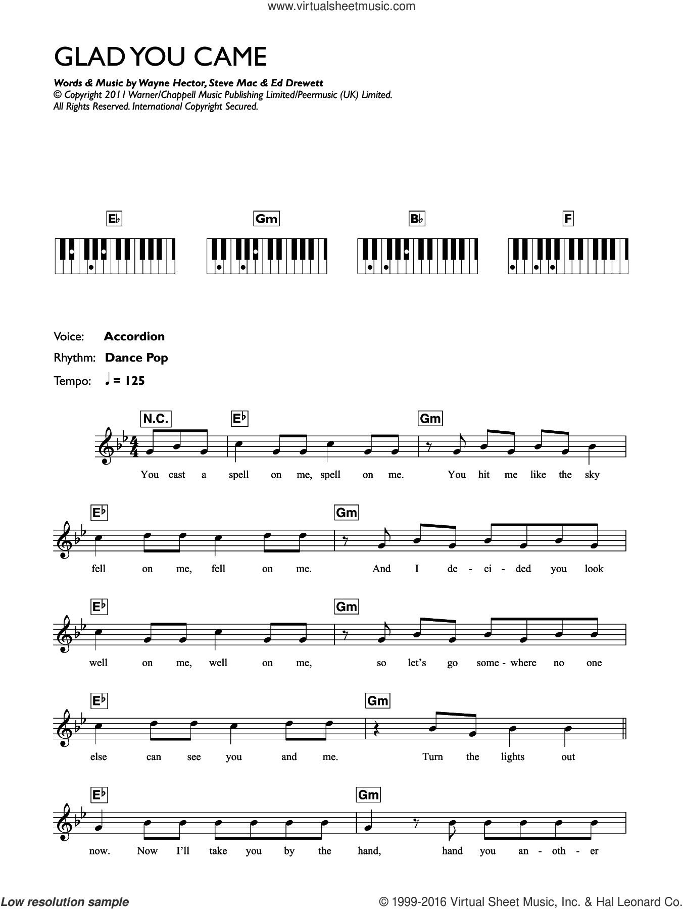 Glad You Came sheet music for piano solo (chords, lyrics, melody) by The Wanted, Ed Drewett, Steve Mac and Wayne Hector, intermediate piano (chords, lyrics, melody)