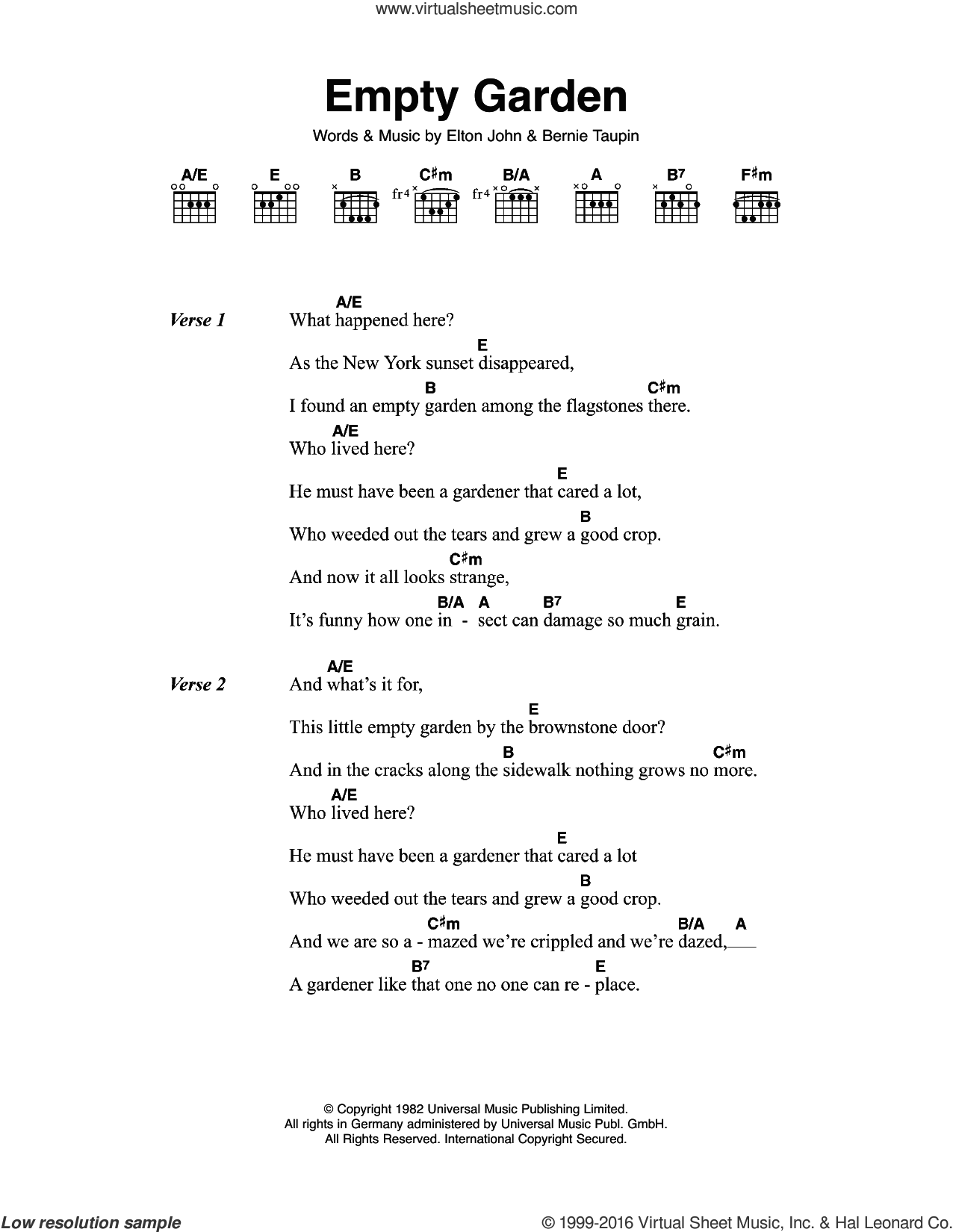 Empty Garden sheet music for guitar (chords) by Bernie Taupin and Elton John. Score Image Preview.