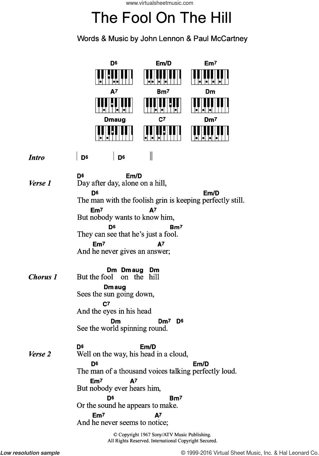 The Fool On The Hill sheet music for piano solo (chords, lyrics, melody) by The Beatles, John Lennon and Paul McCartney, intermediate piano (chords, lyrics, melody)