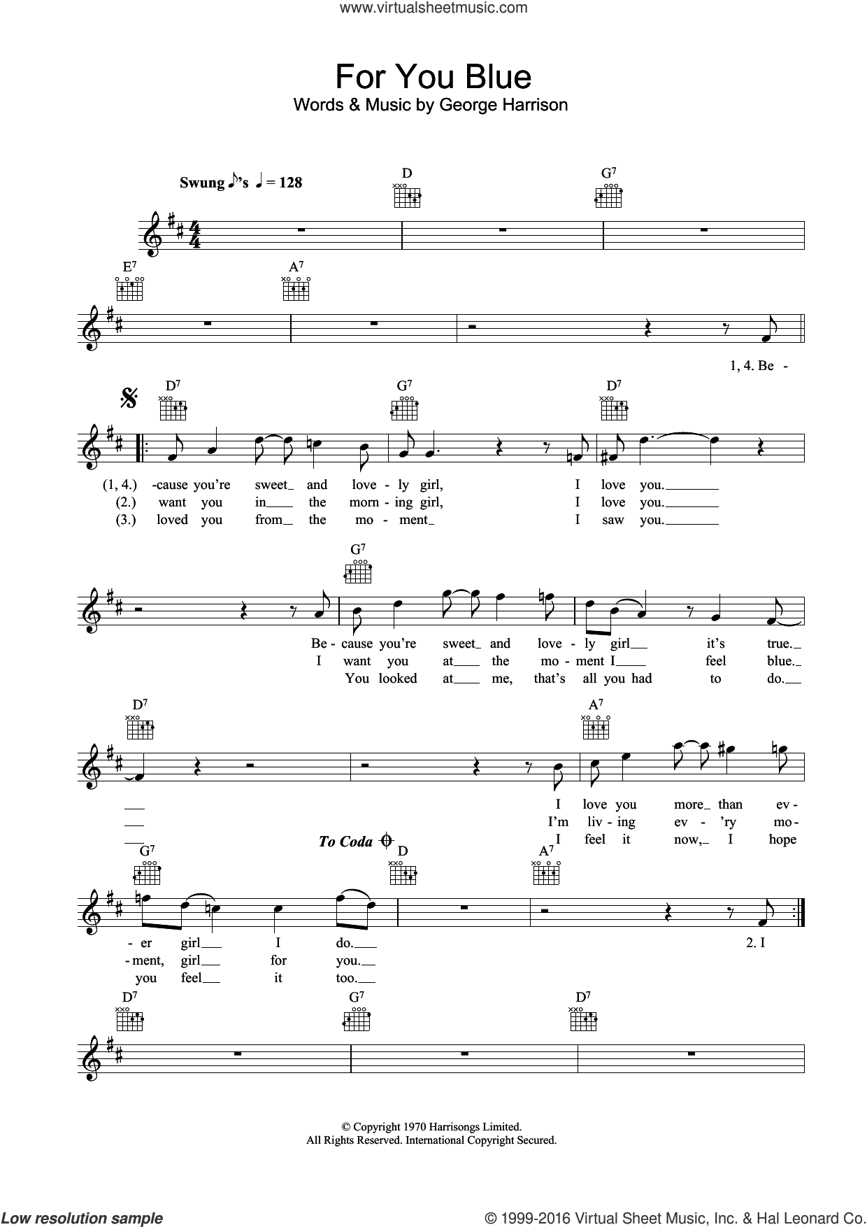 For You Blue sheet music for voice and other instruments (fake book) by The Beatles and George Harrison, intermediate voice. Score Image Preview.
