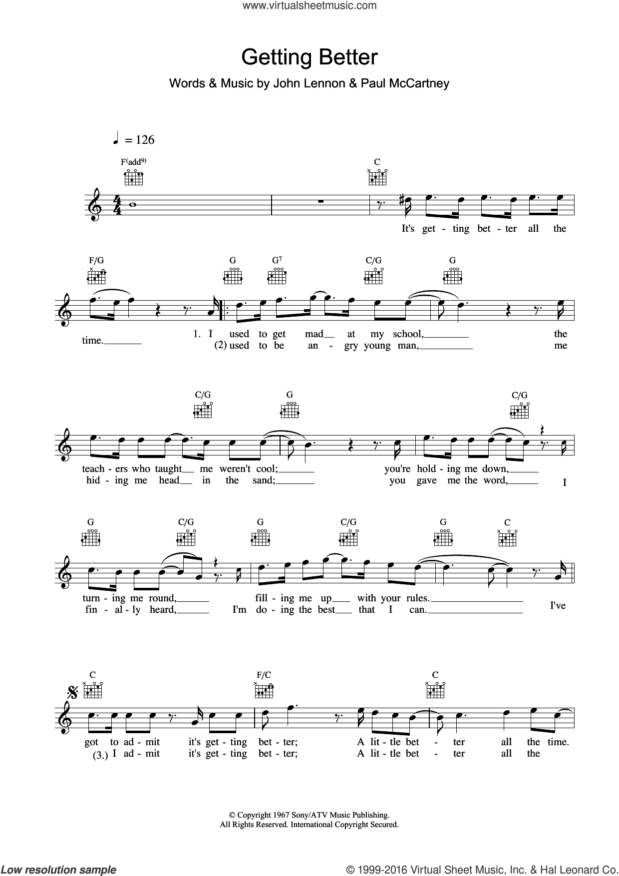 Getting Better sheet music for voice and other instruments (fake book) by The Beatles, John Lennon and Paul McCartney, intermediate skill level