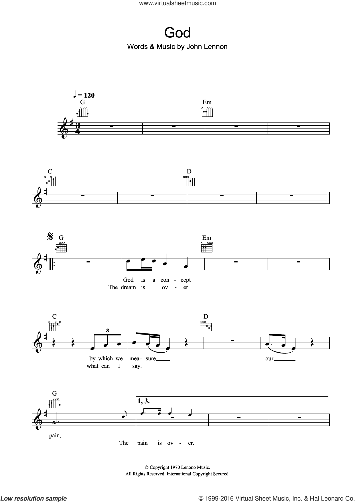 God sheet music for voice and other instruments (fake book) by John Lennon. Score Image Preview.