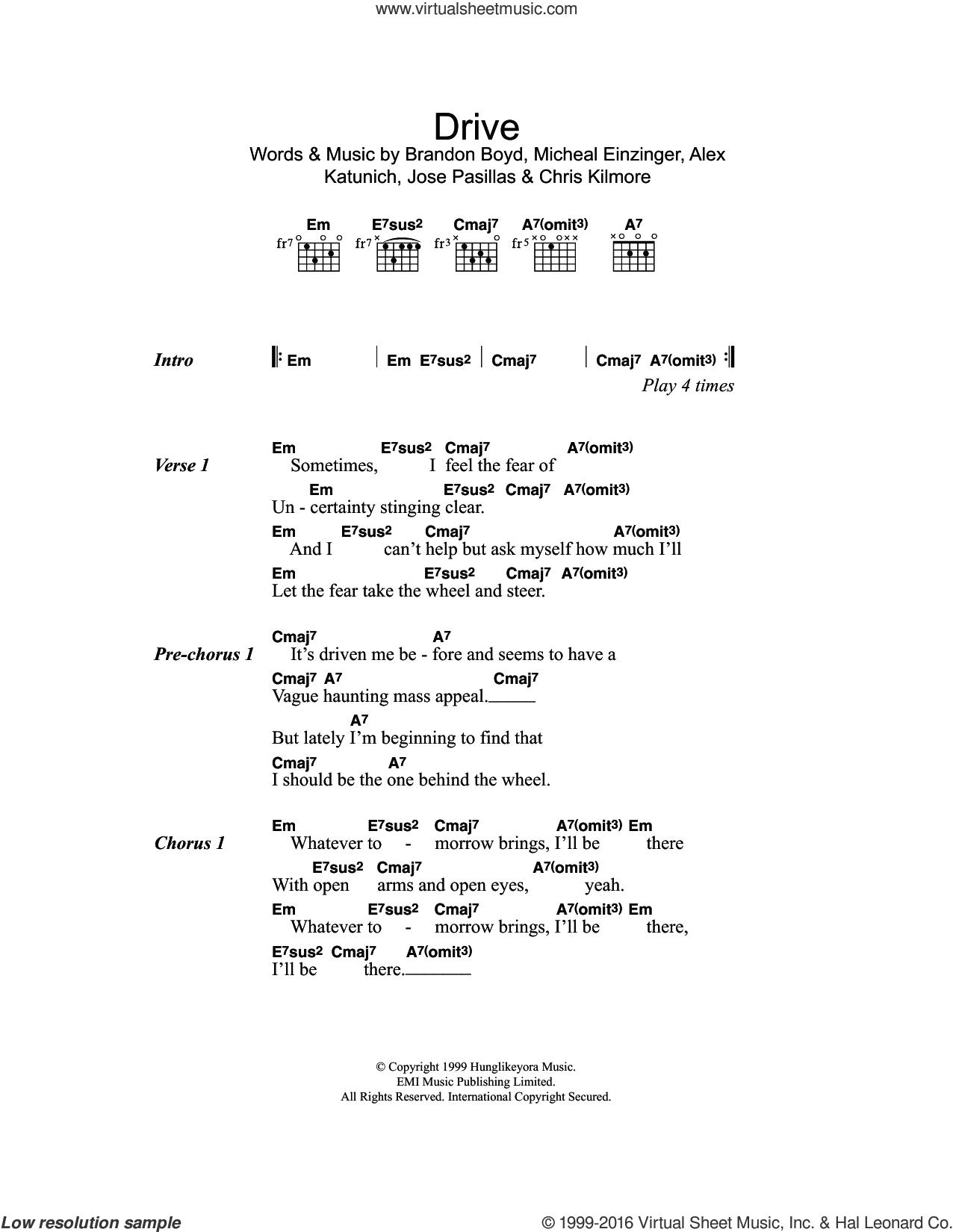 Drive sheet music for guitar (chords) by Incubus, Alex Katunich, Brandon Boyd, Chris Kilmore, Jose Pasillas and Michael Einziger, intermediate skill level