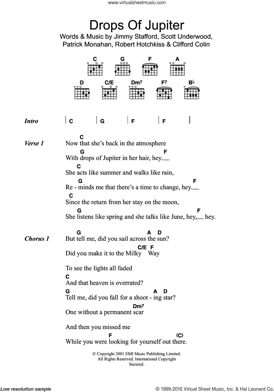 Train   Drops Of Jupiter Tell Me sheet music for guitar chords v15