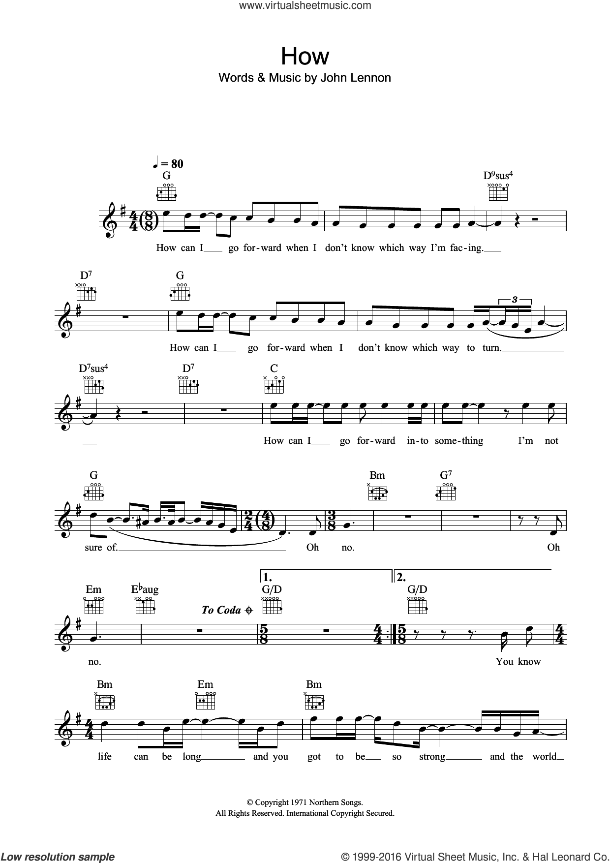 How sheet music for voice and other instruments (fake book) by John Lennon. Score Image Preview.