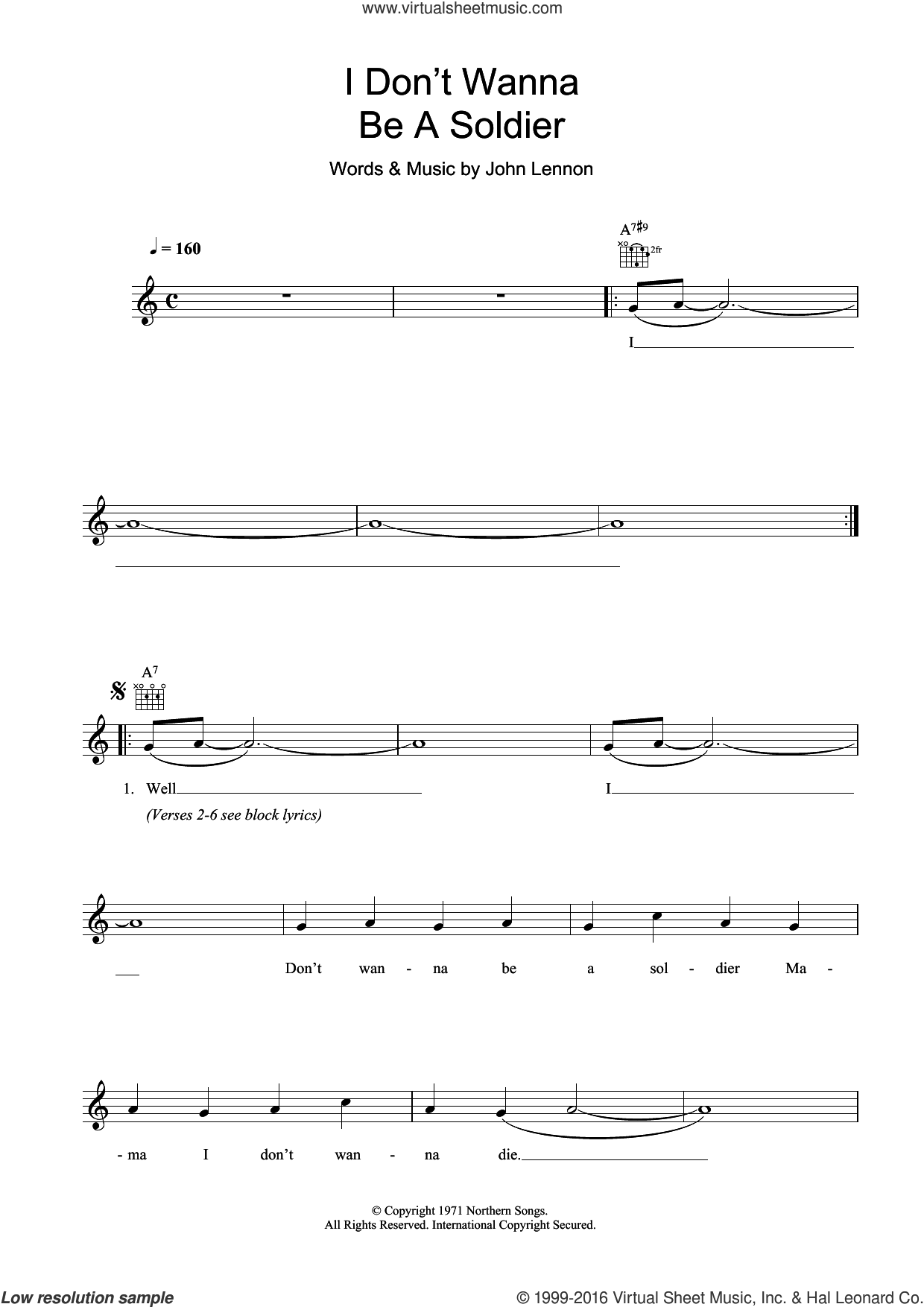 I Don't Wanna Be A Soldier sheet music for voice and other instruments (fake book) by John Lennon, intermediate skill level