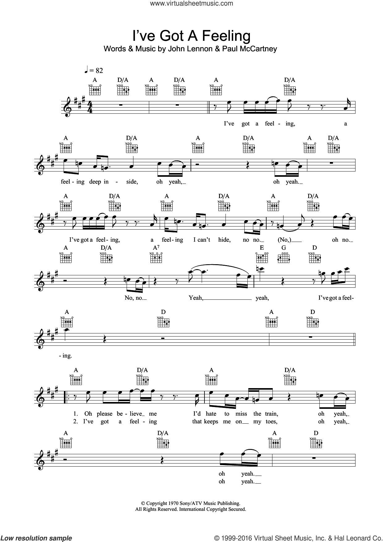 I've Got A Feeling sheet music for voice and other instruments (fake book) by The Beatles, John Lennon and Paul McCartney, intermediate skill level