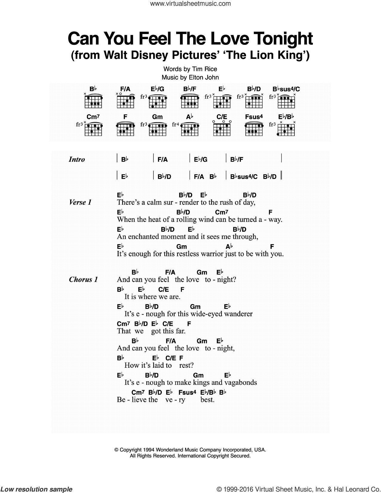 Can You Feel The Love Tonight (from The Lion King) sheet music for guitar (chords) by Elton John and Tim Rice, intermediate. Score Image Preview.