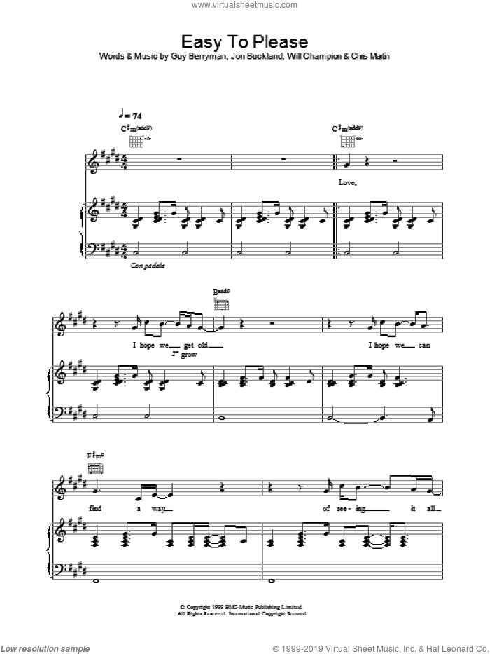 Easy To Please sheet music for voice, piano or guitar by Coldplay, Chris Martin, Guy Berryman, Jon Buckland and Will Champion, intermediate