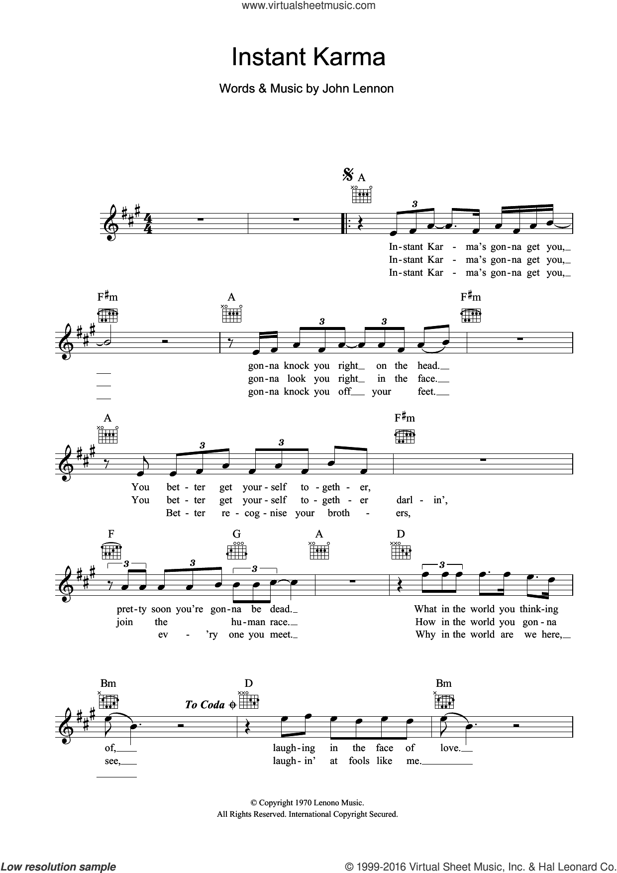 Instant Karma sheet music for voice and other instruments (fake book) by John Lennon, intermediate skill level