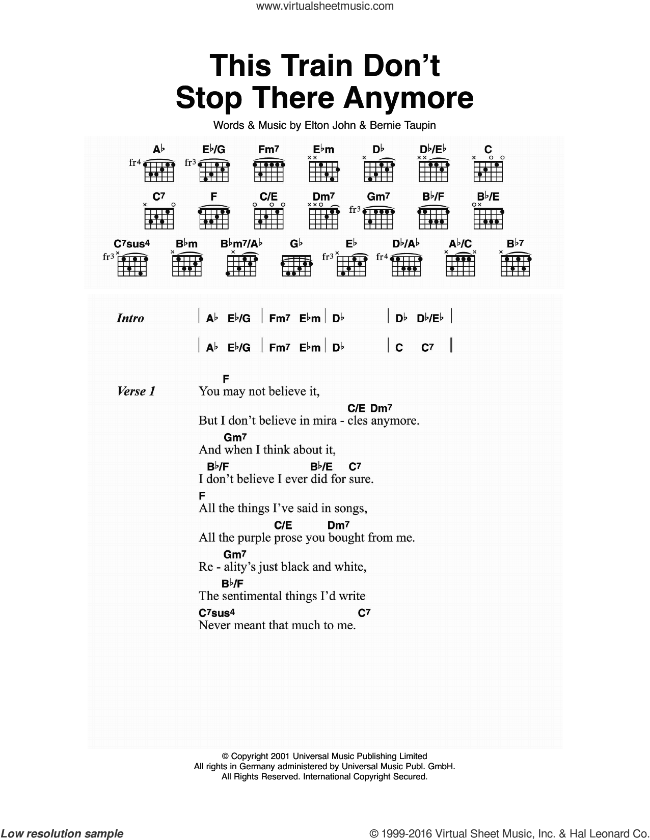 This Train Don't Stop There Anymore sheet music for guitar (chords) by Elton John and Bernie Taupin, intermediate guitar (chords). Score Image Preview.