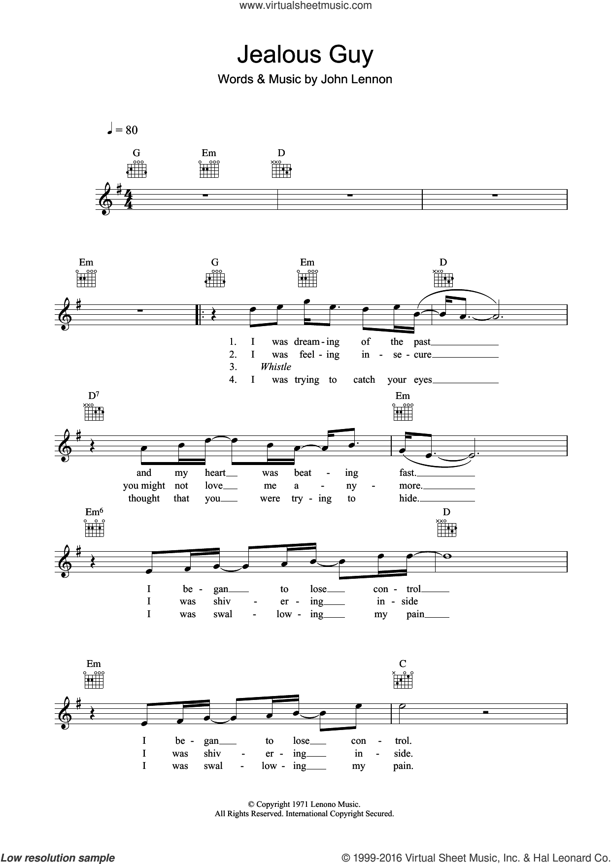 Jealous Guy sheet music for voice and other instruments (fake book) by Roxy Music and John Lennon, intermediate voice. Score Image Preview.