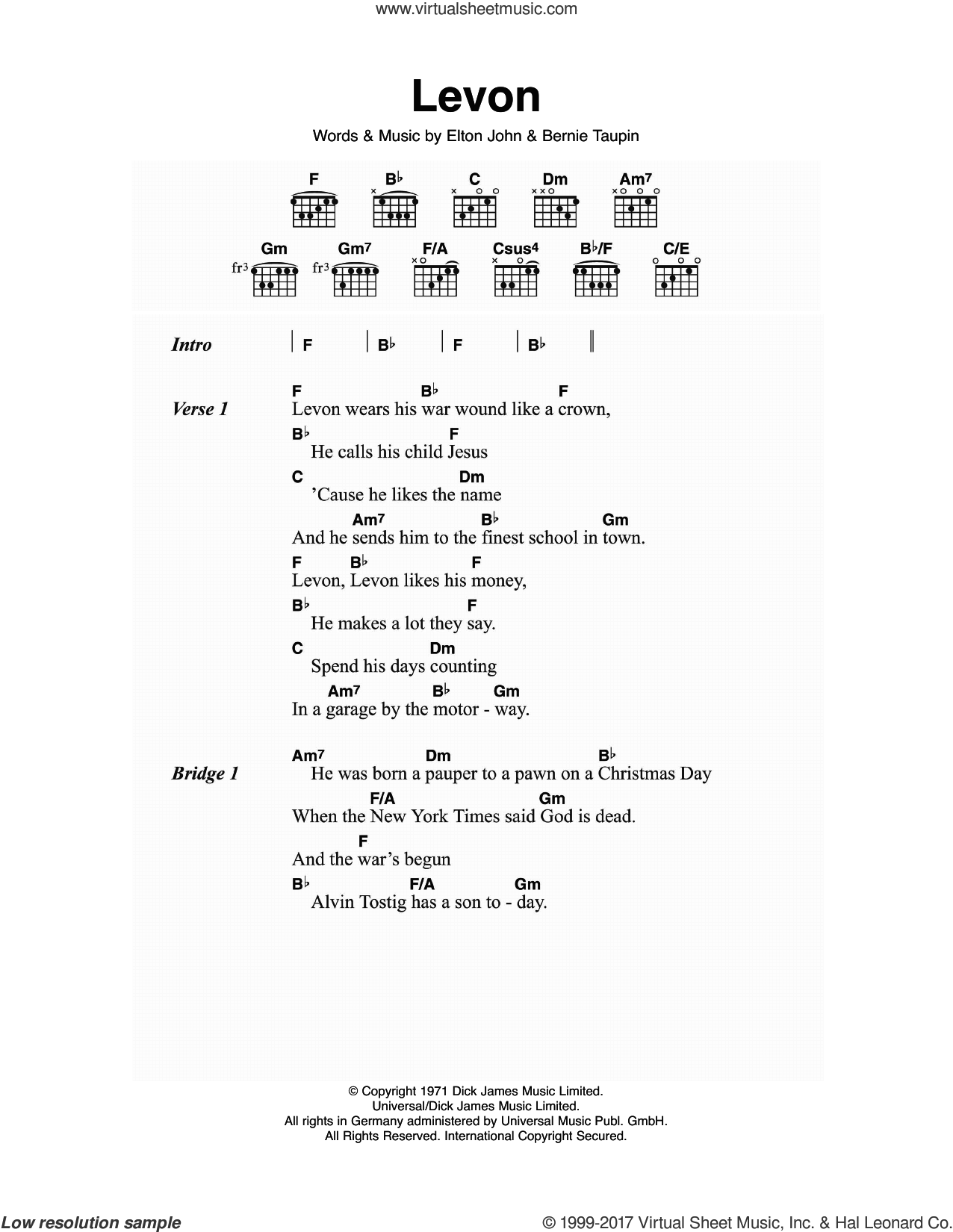 Levon sheet music for guitar (chords) by Elton John and Bernie Taupin, intermediate skill level