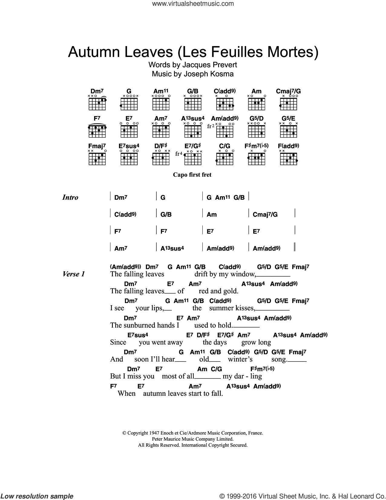 Autumn Leaves (Les Feuilles Mortes) sheet music for guitar (chords) by Eva Cassidy, Jacques Prevert and Joseph Kosma, intermediate skill level