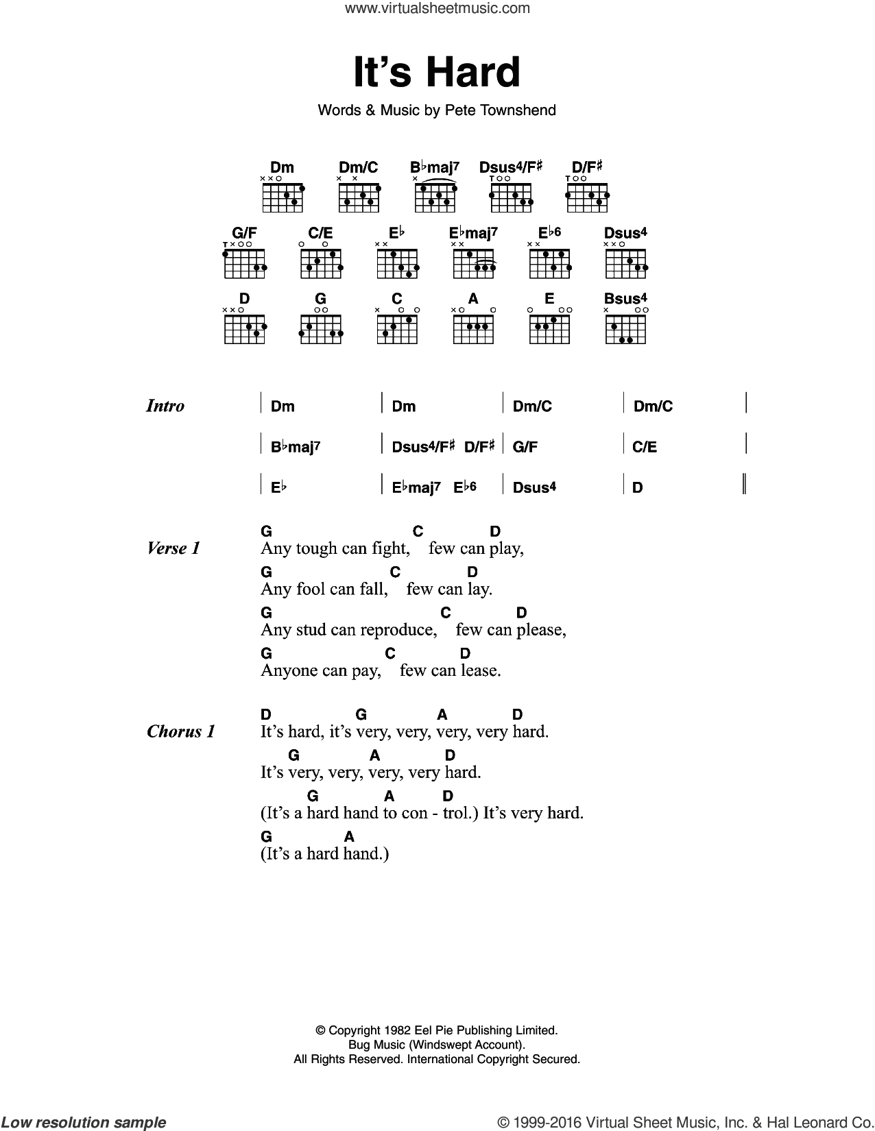It's Hard sheet music for guitar (chords) by The Who and Pete Townshend. Score Image Preview.
