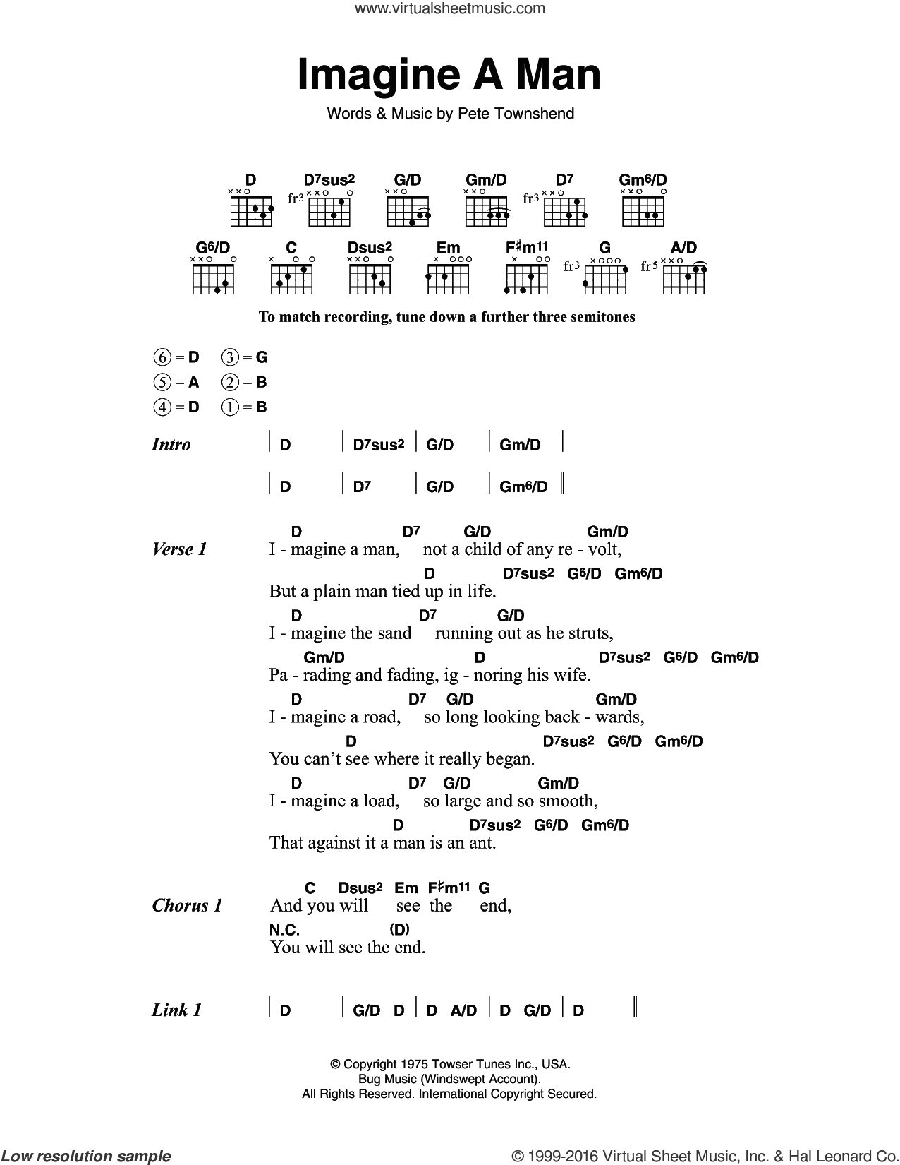 Imagine A Man sheet music for guitar (chords) by Pete Townshend