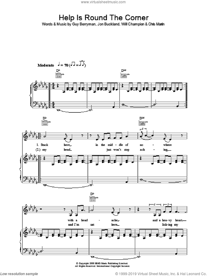 Help Is Round The Corner sheet music for voice, piano or guitar by Chris Martin, Coldplay, Guy Berryman, Jon Buckland and Will Champion. Score Image Preview.
