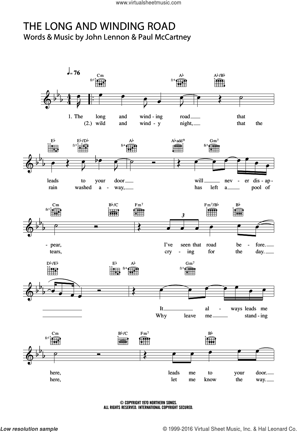 Gates - The Long And Winding Road sheet music (fake book) [PDF]