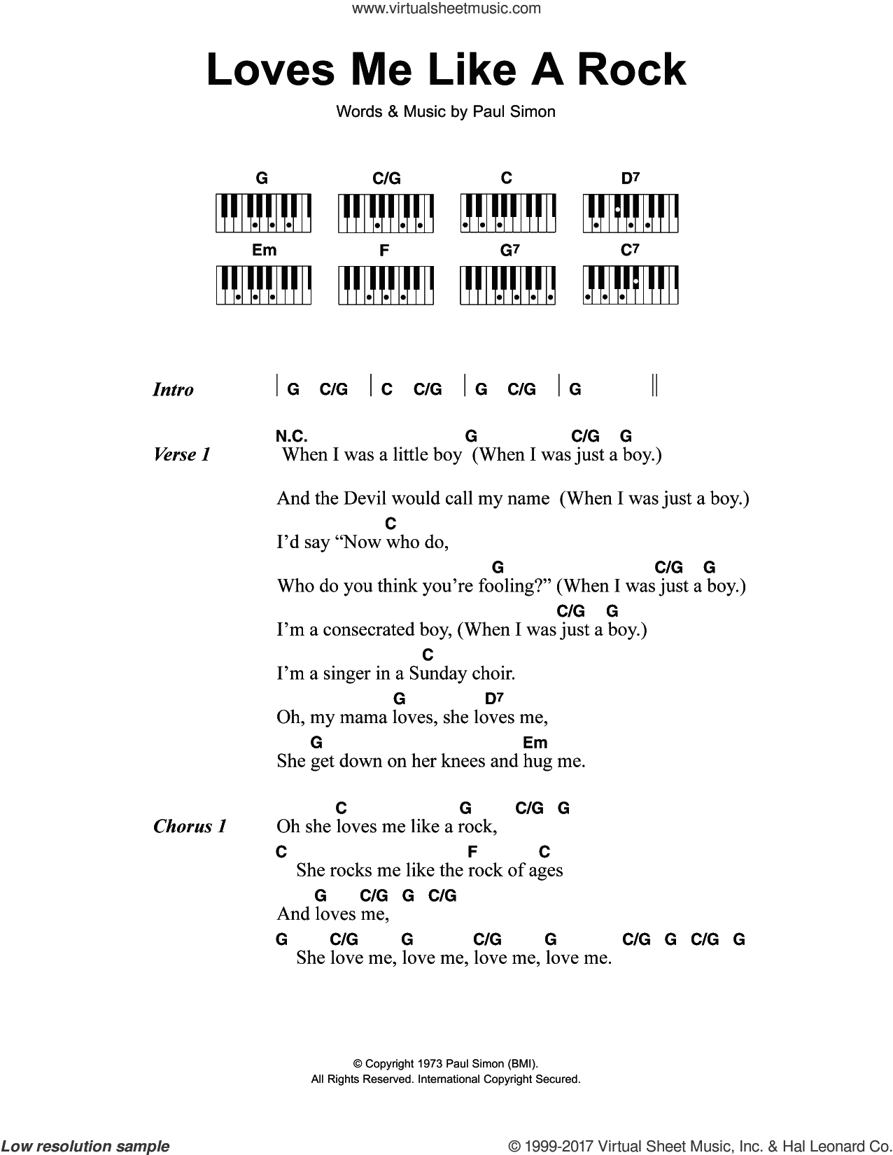 Loves Me Like A Rock sheet music for piano solo (chords, lyrics, melody) by Paul Simon, intermediate piano (chords, lyrics, melody). Score Image Preview.