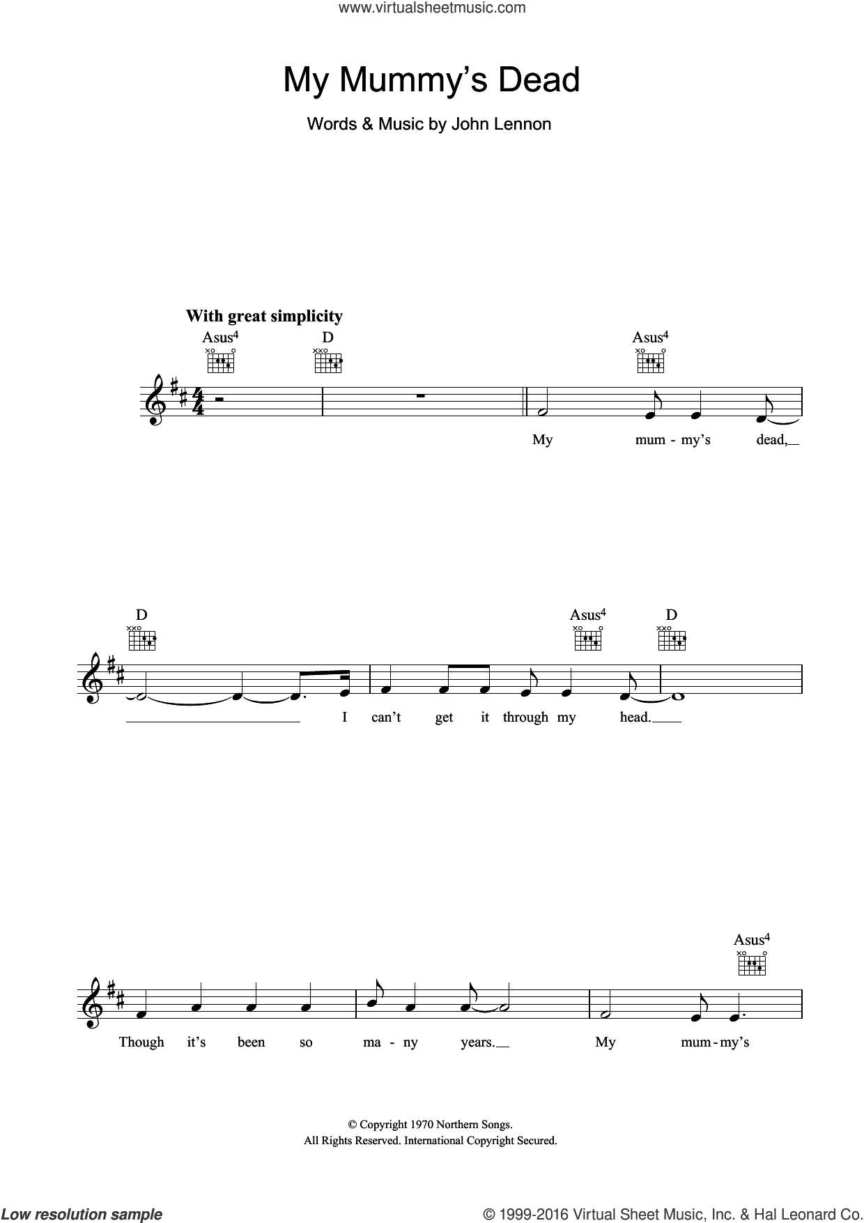 My Mummy's Dead sheet music for voice and other instruments (fake book) by John Lennon. Score Image Preview.