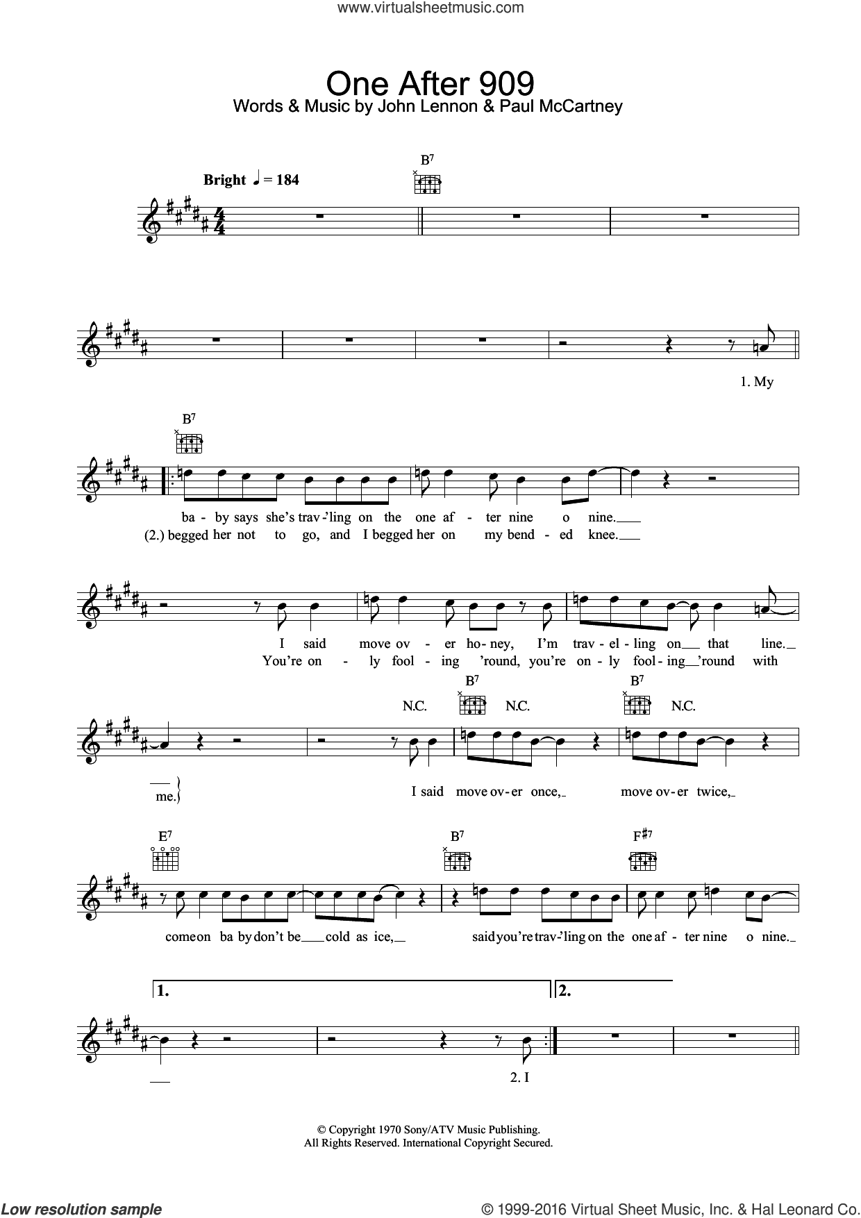 One After 909 sheet music for voice and other instruments (fake book) by Paul McCartney, The Beatles and John Lennon. Score Image Preview.
