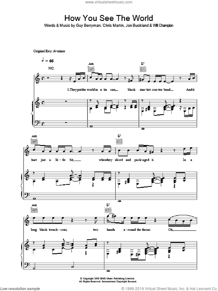 How You See The World sheet music for voice, piano or guitar by Coldplay, intermediate. Score Image Preview.