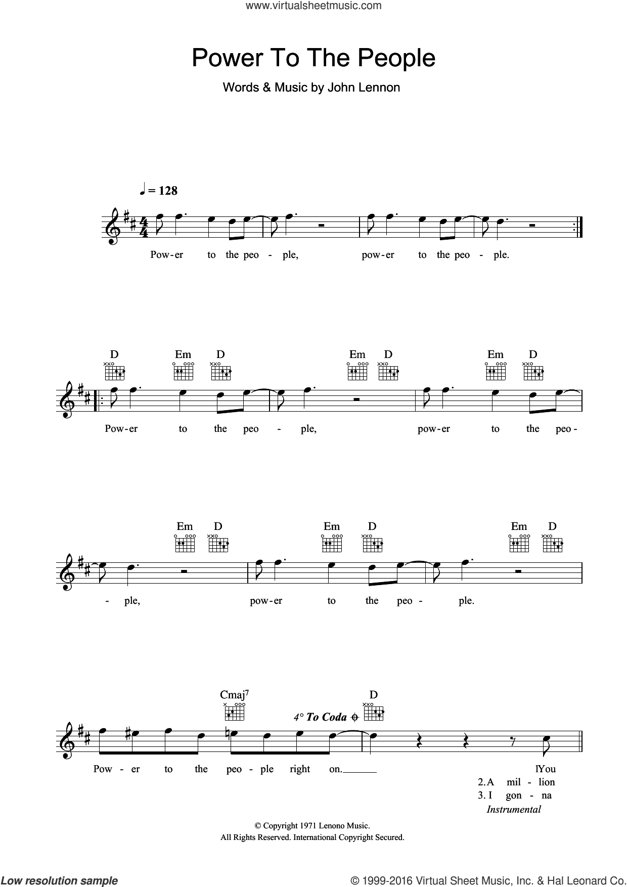 Power To The People sheet music for voice and other instruments (fake book) by John Lennon, intermediate. Score Image Preview.
