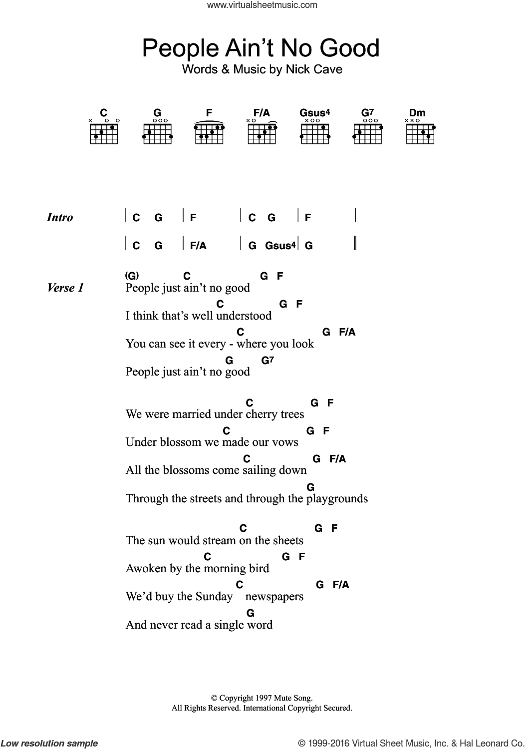 People Ain't No Good sheet music for guitar (chords) by Nick Cave, intermediate
