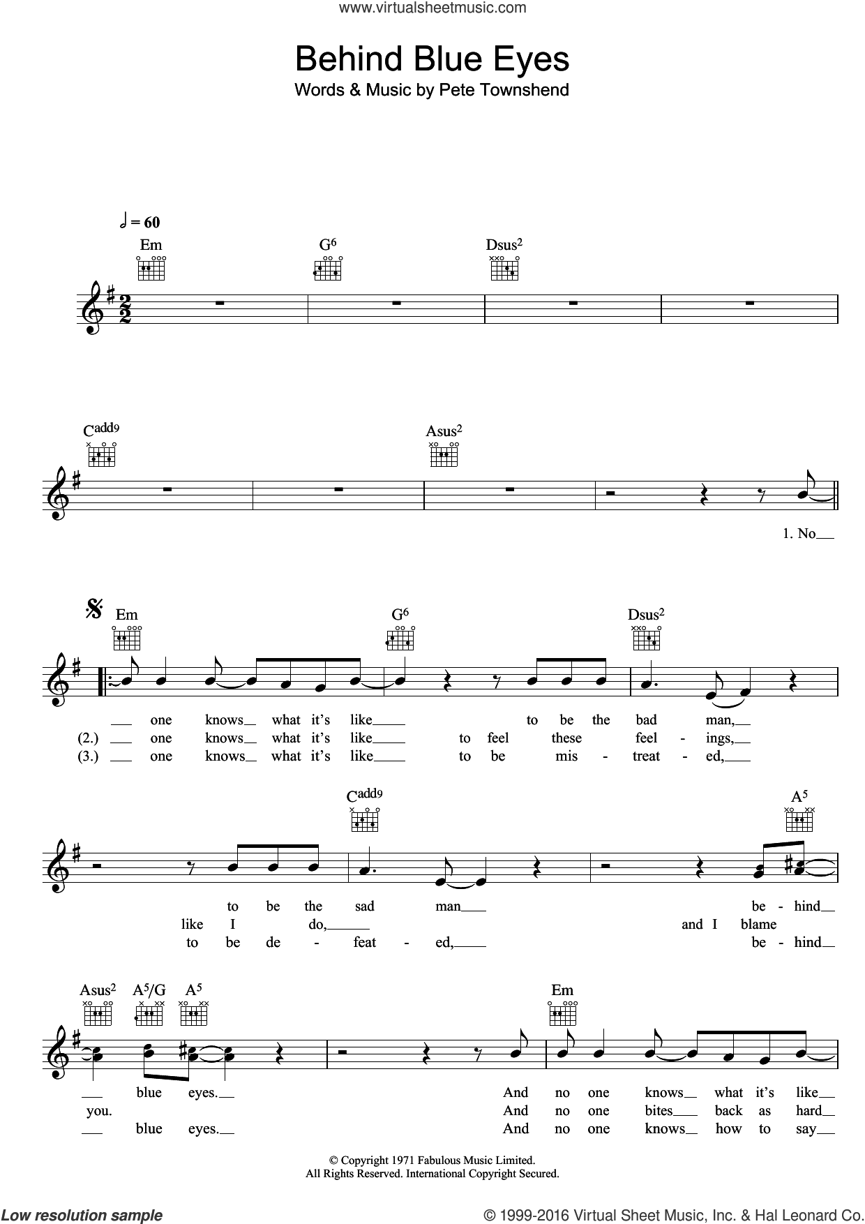 Behind Blue Eyes sheet music for voice and other instruments (fake book) by Limp Bizkit, The Who and Pete Townshend. Score Image Preview.
